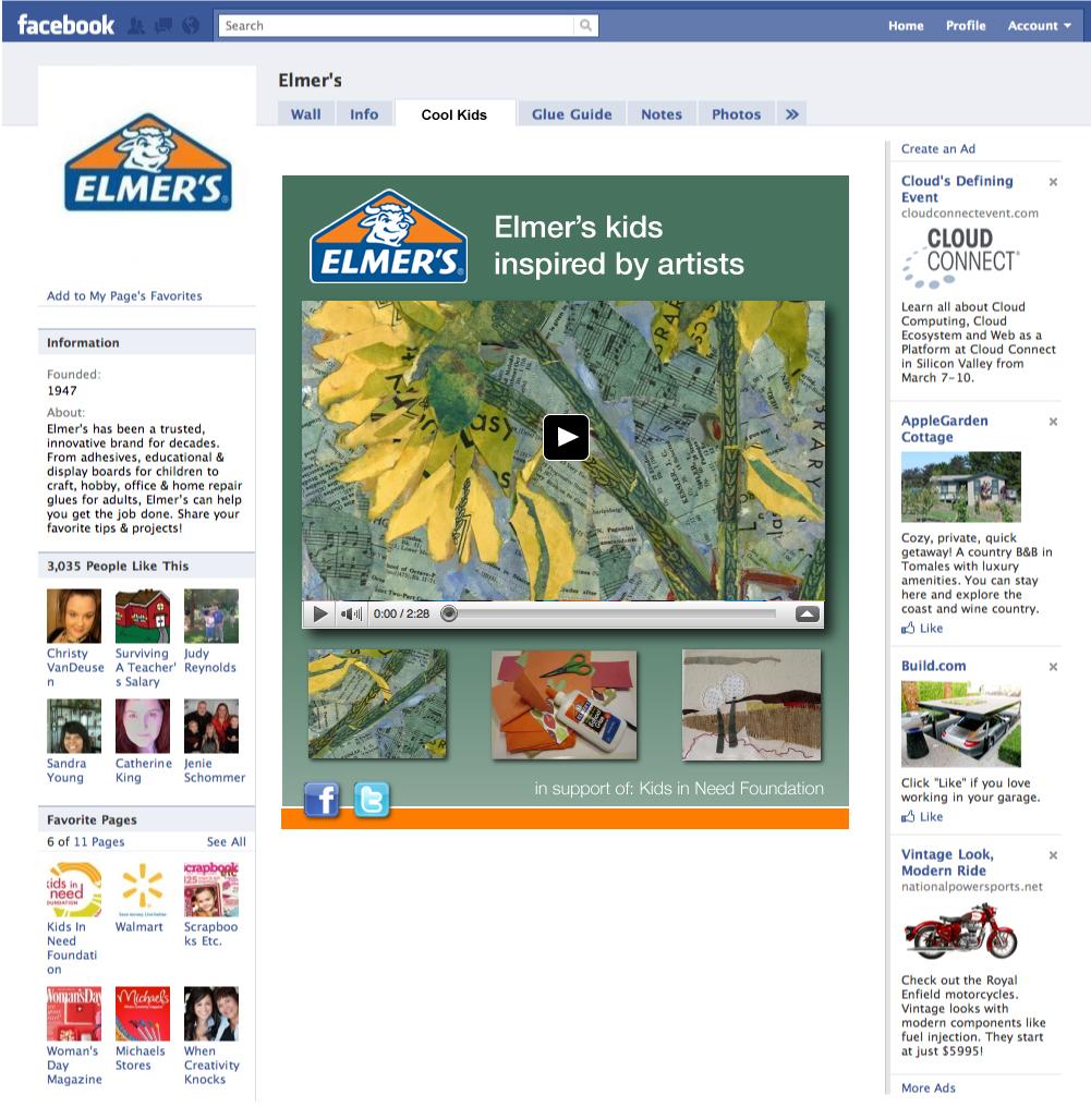 Elmer's facebook video tab inspired