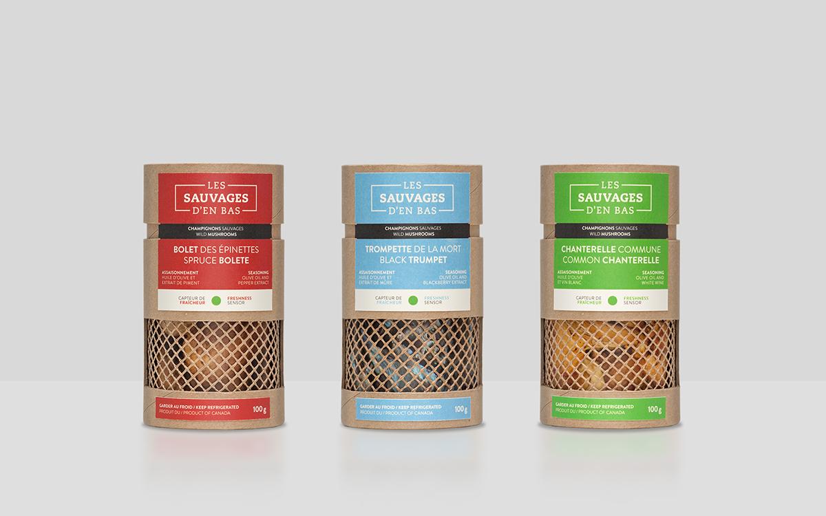 Mushrooms Kraft Label Food  Quebec st-laurent stationary recipes oil olive bag