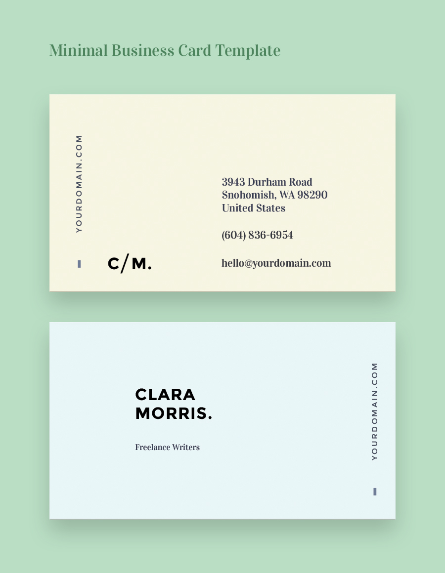 Minimal Business Card Free Template on Behance