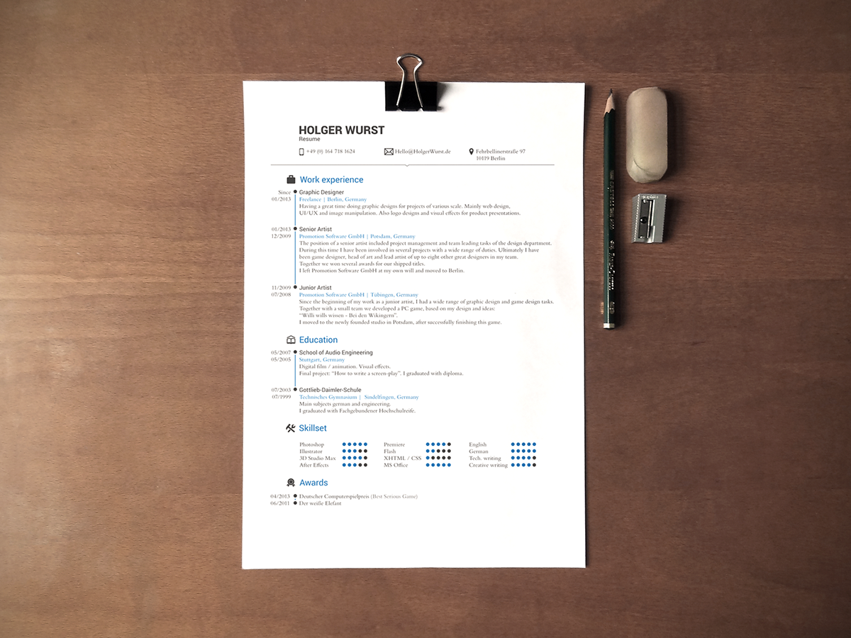 CV & Resume & Cover Letter Template (PSD/AI) on Behance