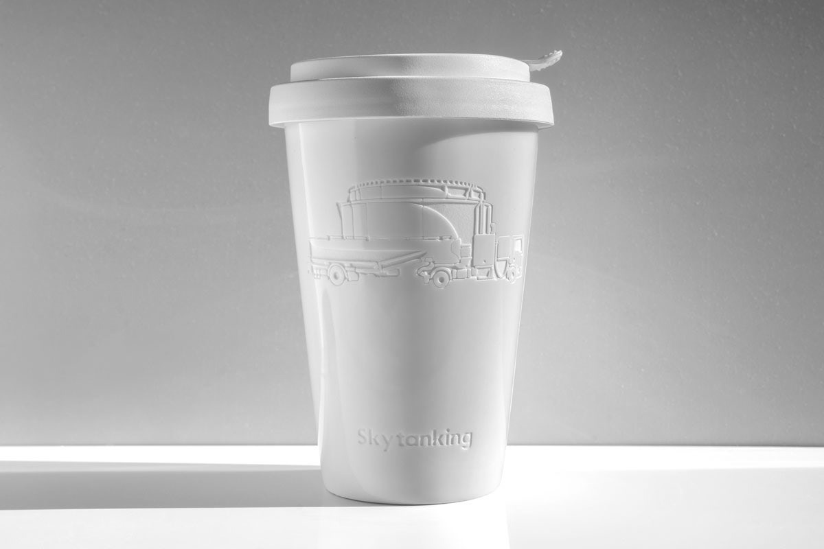 ILLUSTRATION  branding  Mug  Truck Tank engrave detail minimalistic White #HP
