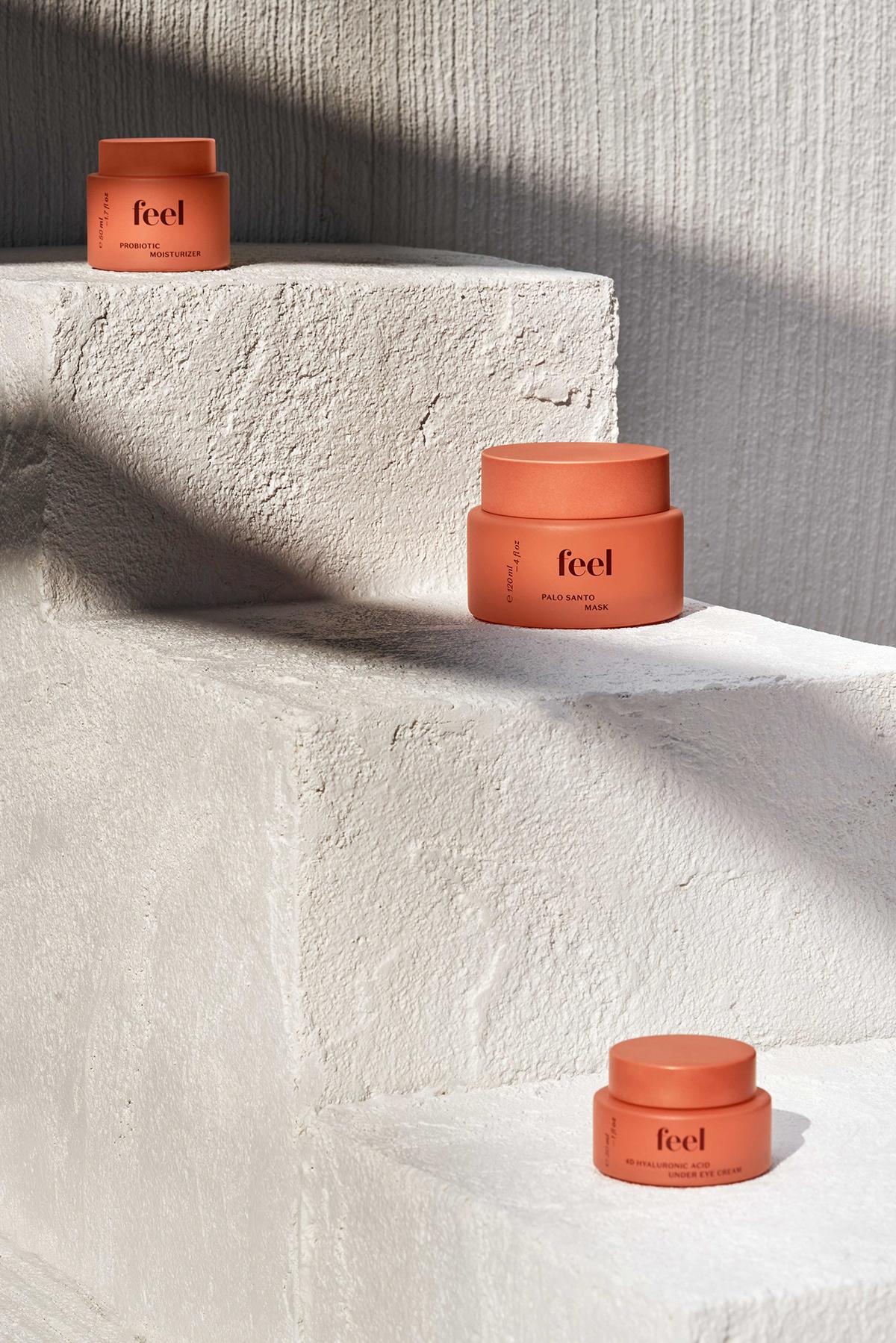 Feel Skincare brand packaging design and branding for sustainability