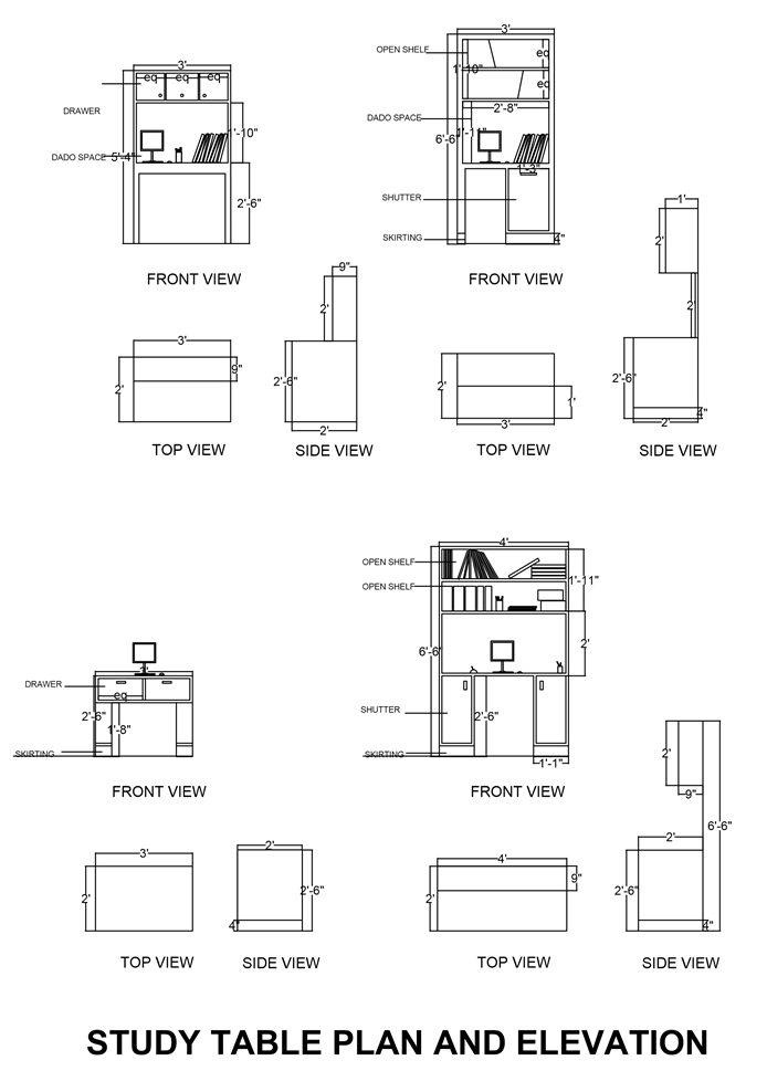 Study table cad drawing creative ideas about interior for Table elevation cad block