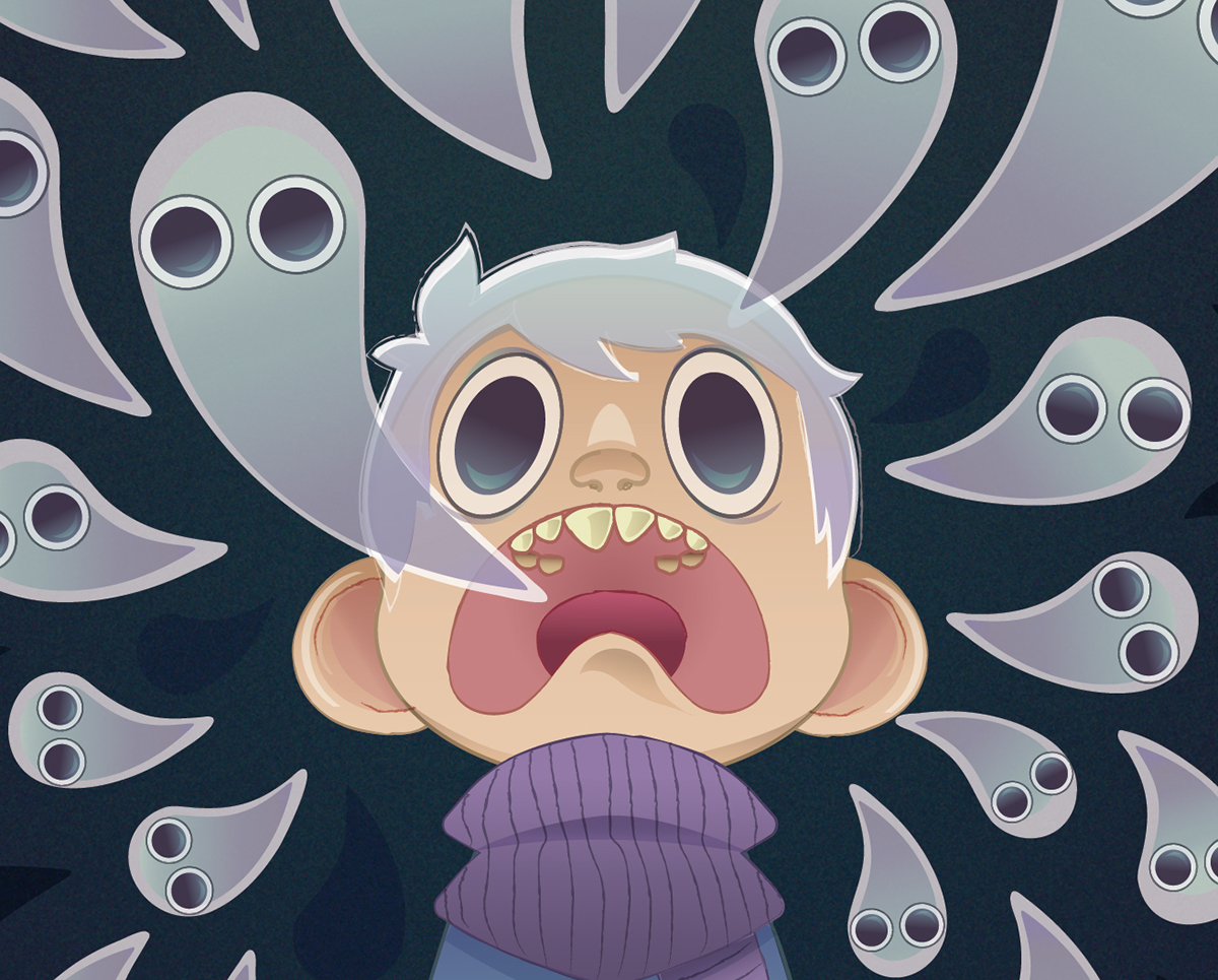 ghost boy albino Illustrator horror creepy cute vector gradient Halloween