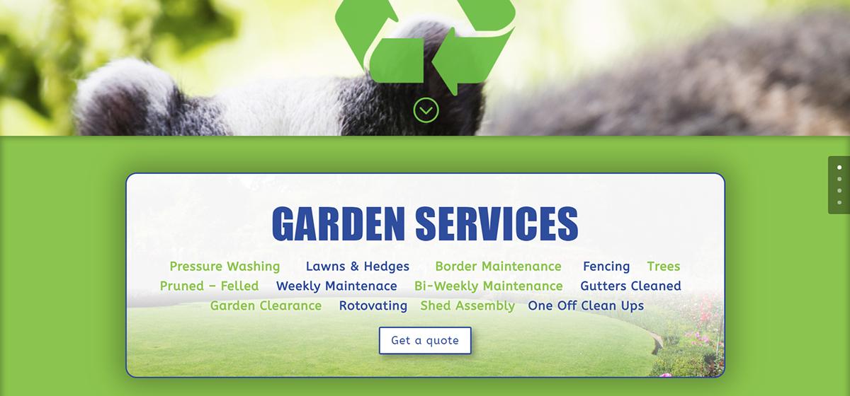 wordpress Website onepage badger Alpha design garden services UK simple