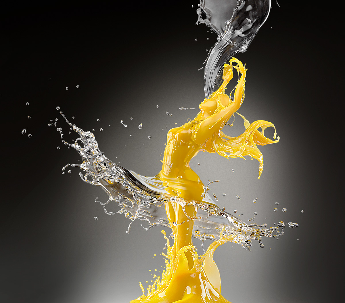 Liquid splash Orange Juice Vodka CGI 3D Maxwell Render