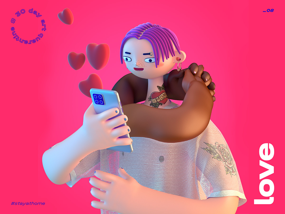 3d illustration cartoon love phone distance hug