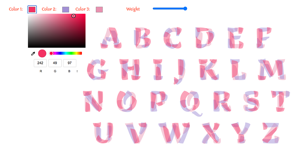 font layered type family chromatic color weights styles variable Playful brush