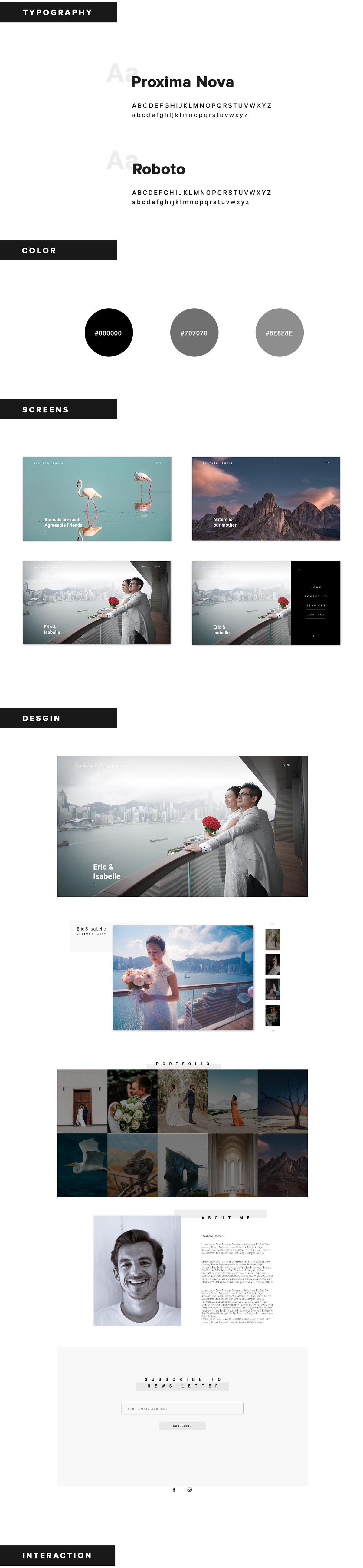 Adobe XD free UI/UX web desgin freebie interaction landing page photographer user interface xD