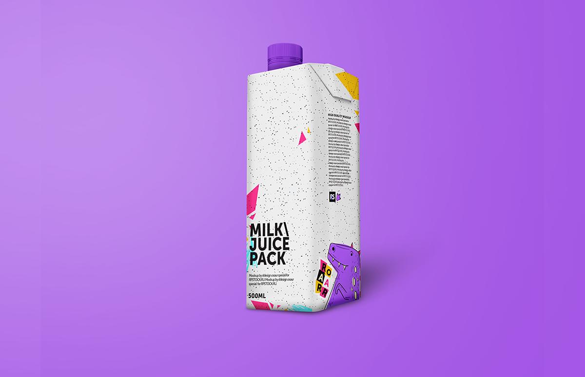 free juice milk Mockup Pack package Packaging