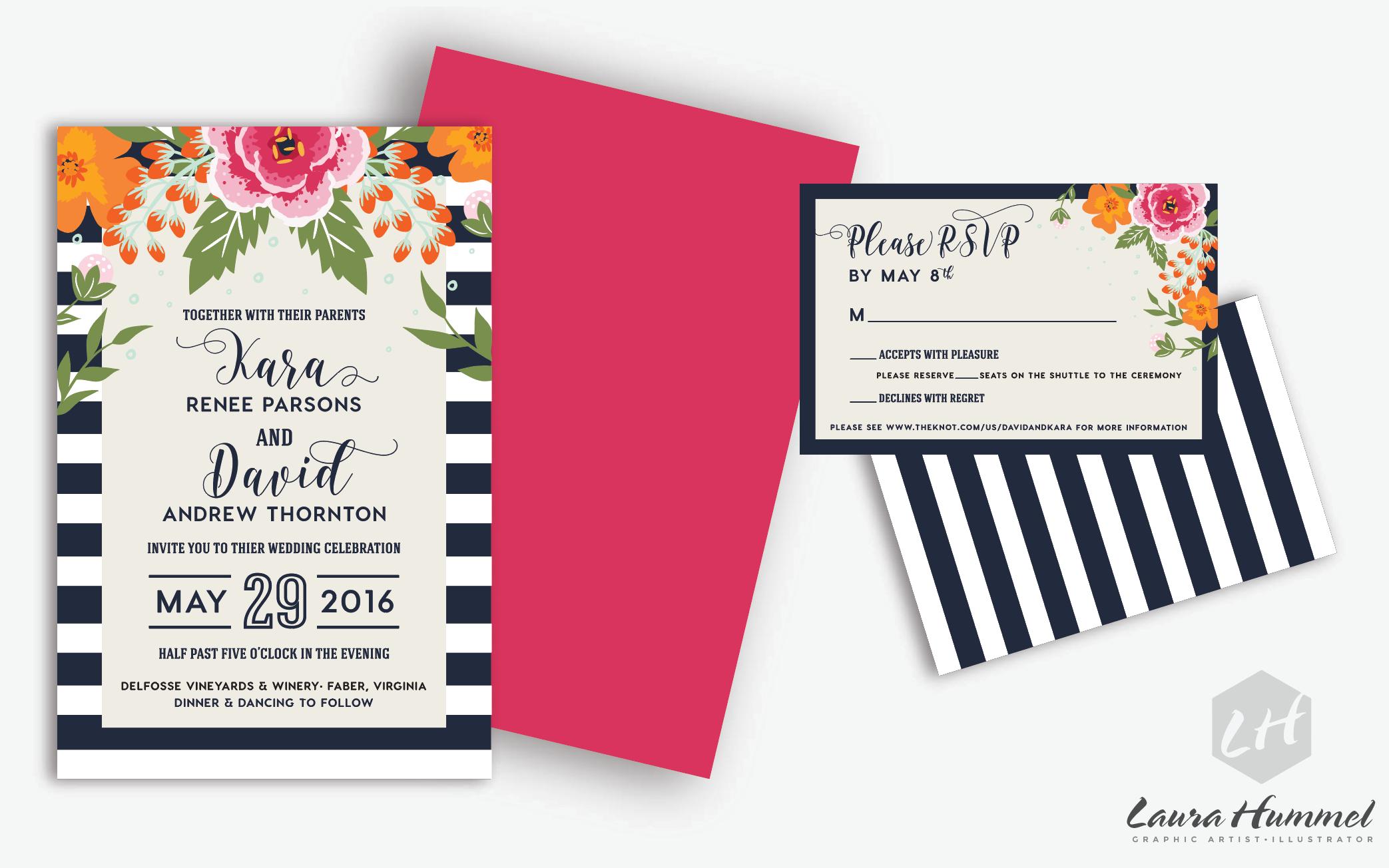 Laura Hummel - UVA Wedding Invitation Suite