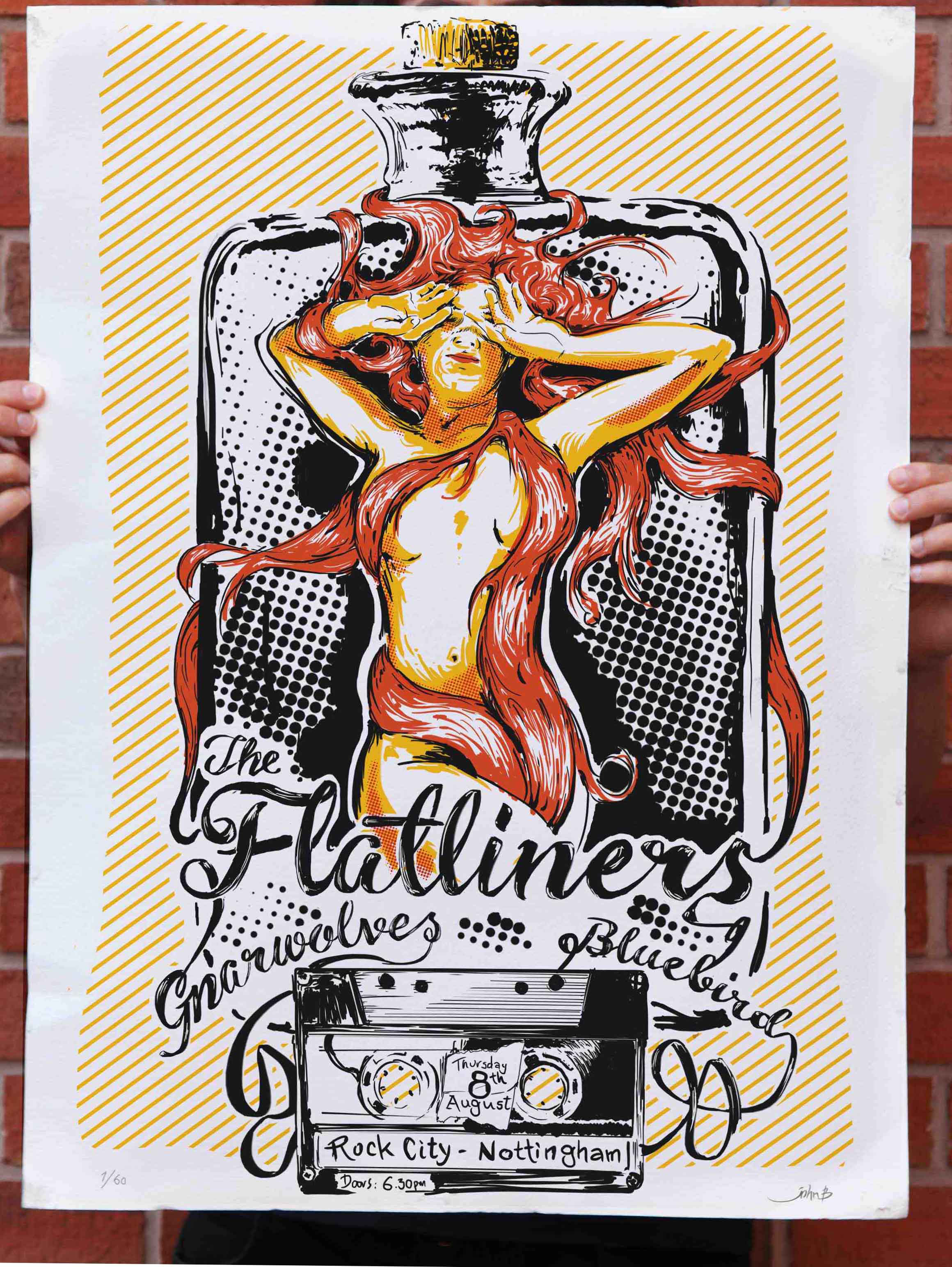 Poster design nottingham - The Flatliners At Rock City Nottingham 2013 Fat Wreck Chords 16 5 X 23 4 Three Color Screen Printed Gig Poster