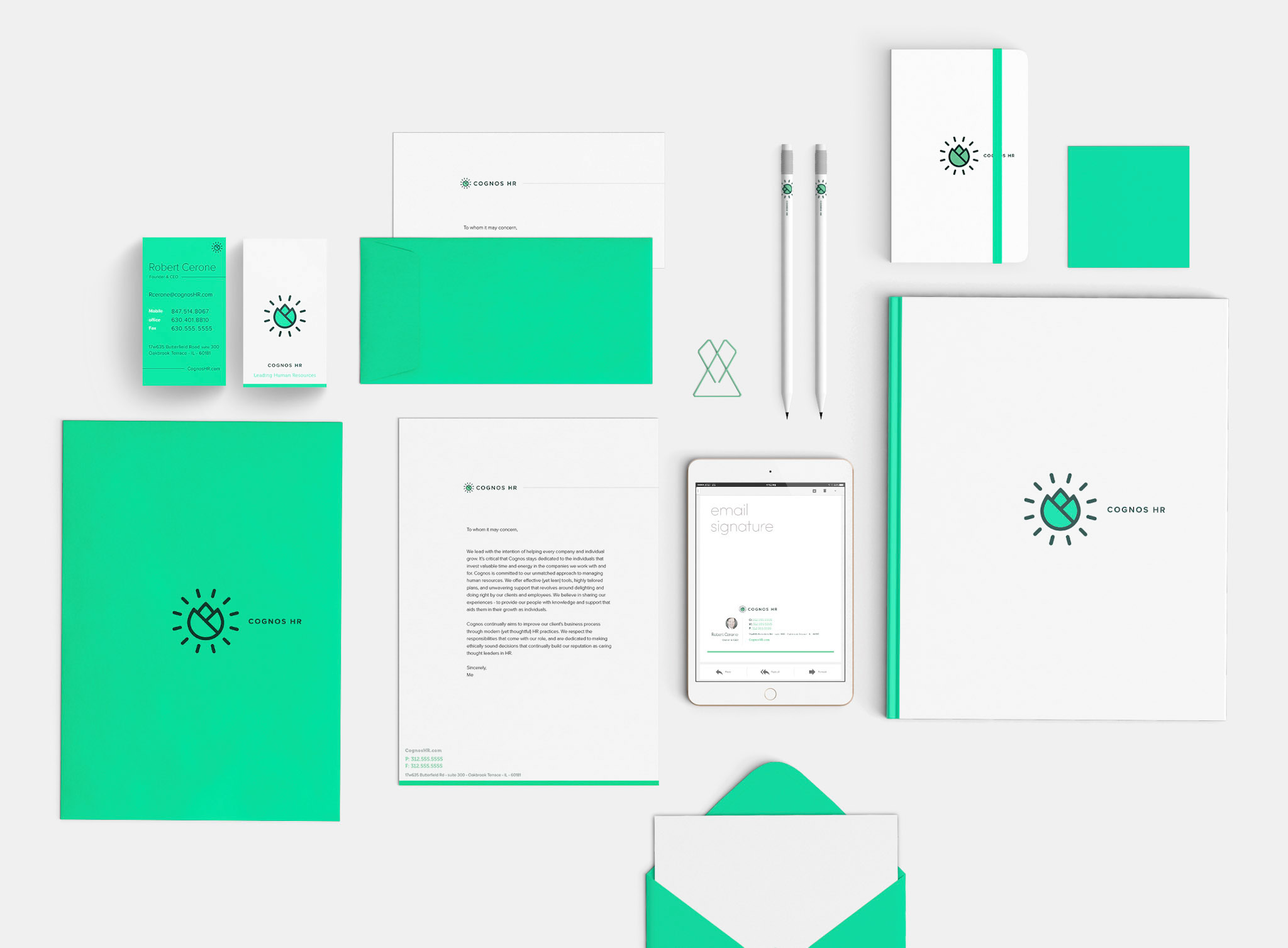 This image shows the brand stationery. It includes: business cards. envelopes, folders, sketchbook, notebooks, & email signature.