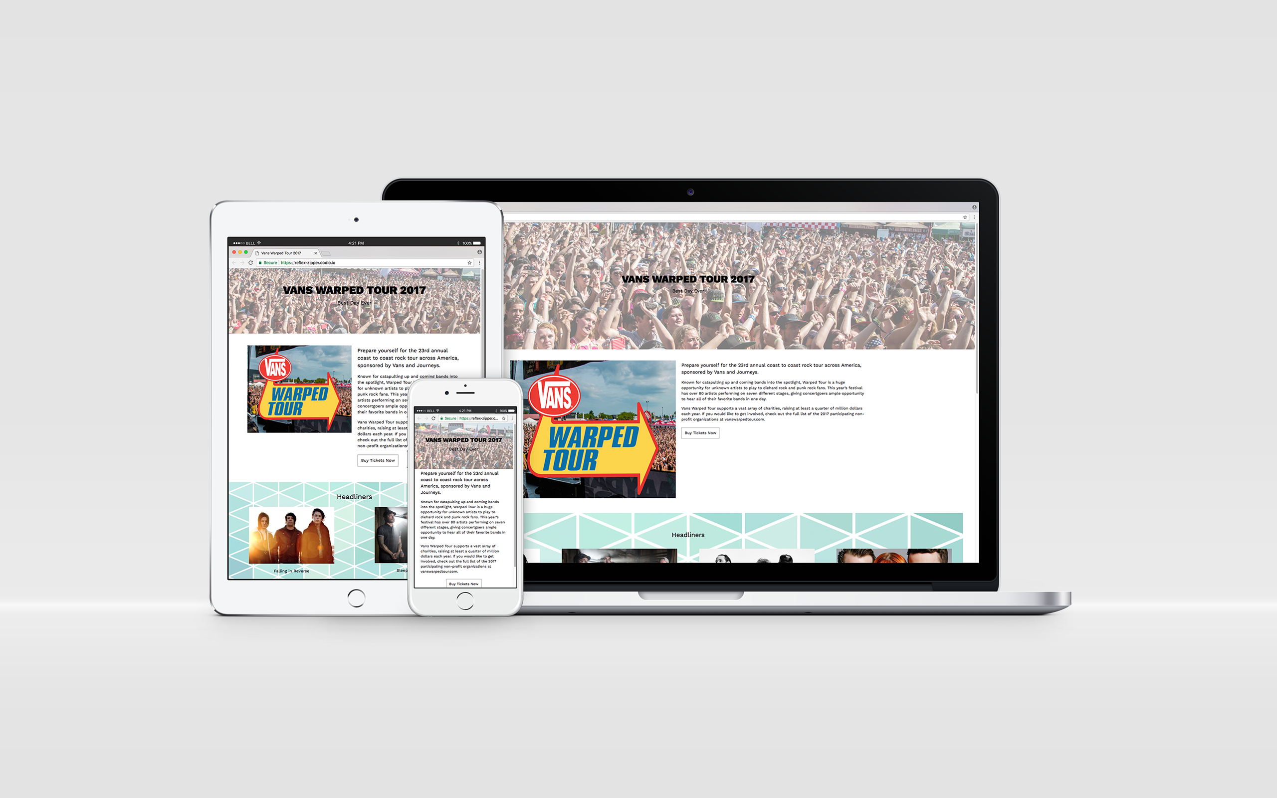 Vans Warped Tour Website Design On Behance Fans Electronic Product
