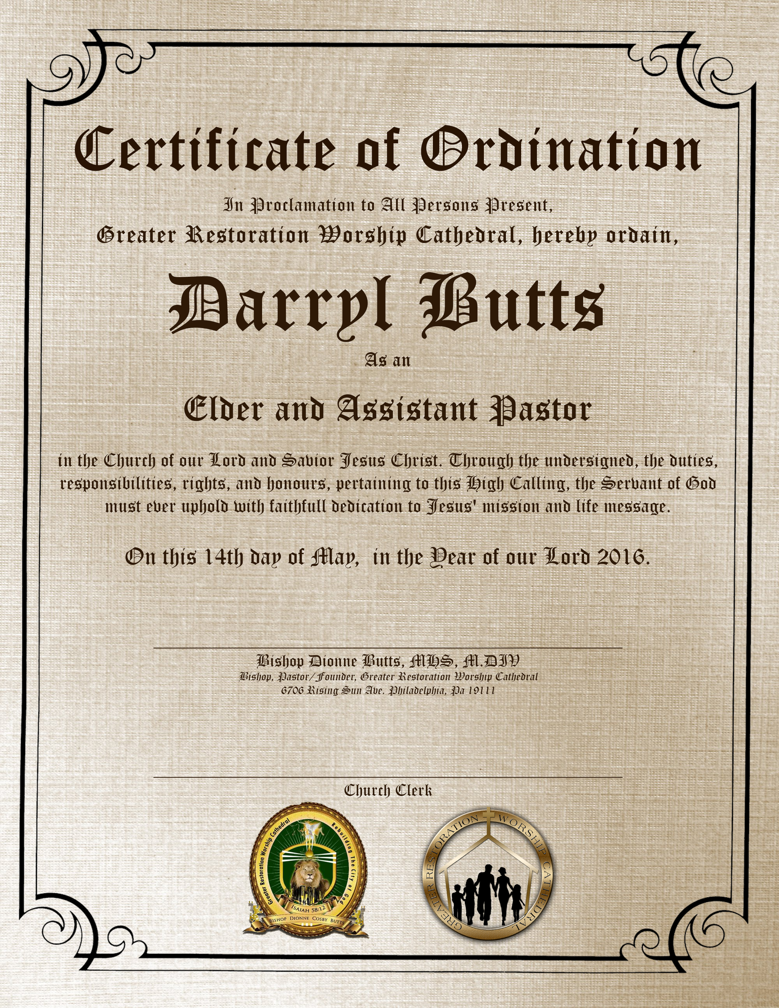 Kiyon harcum ordination certificates ordination certificates 1betcityfo Image collections