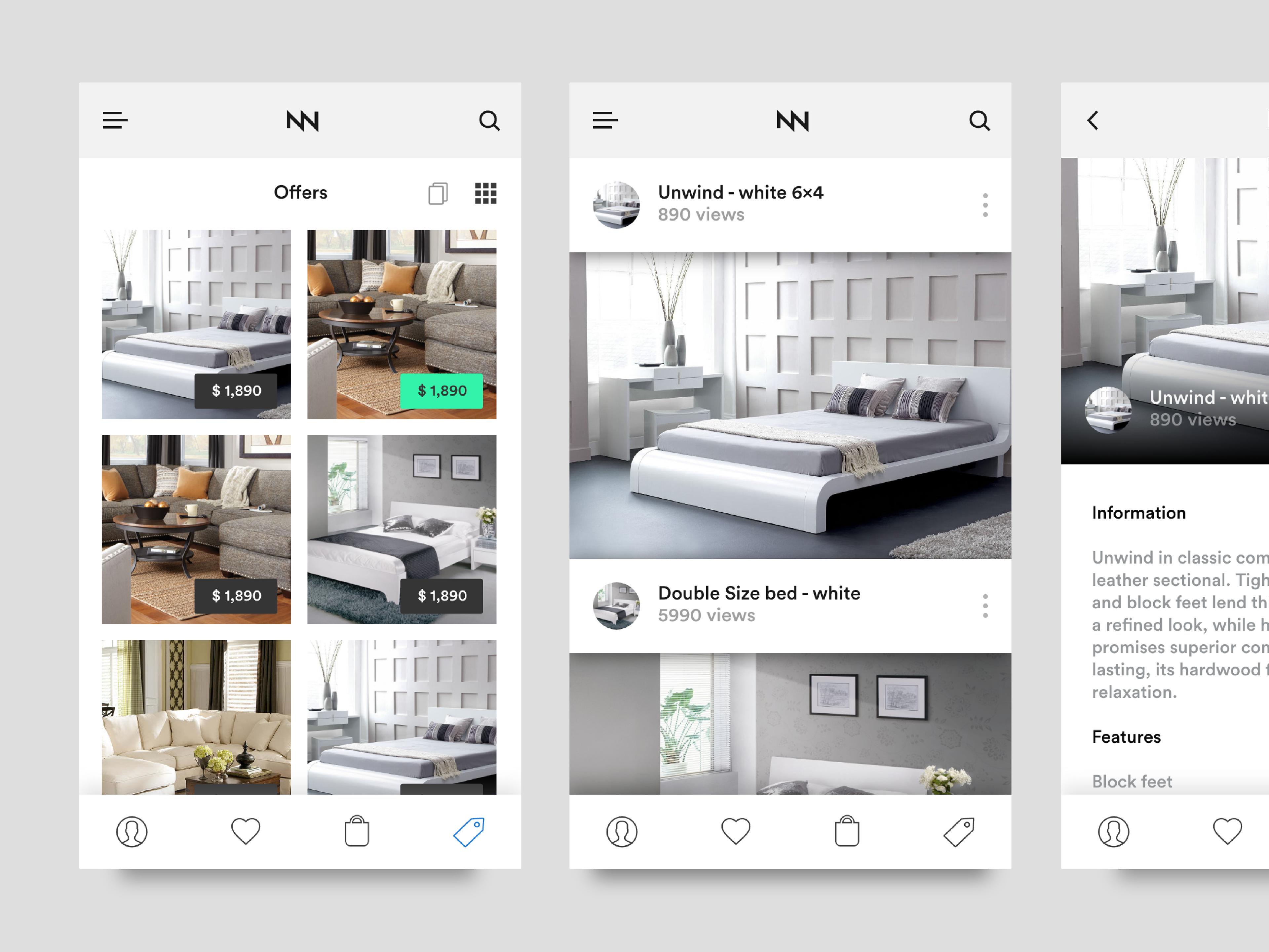 line furniture shopping App UI Kit iOS on Behance
