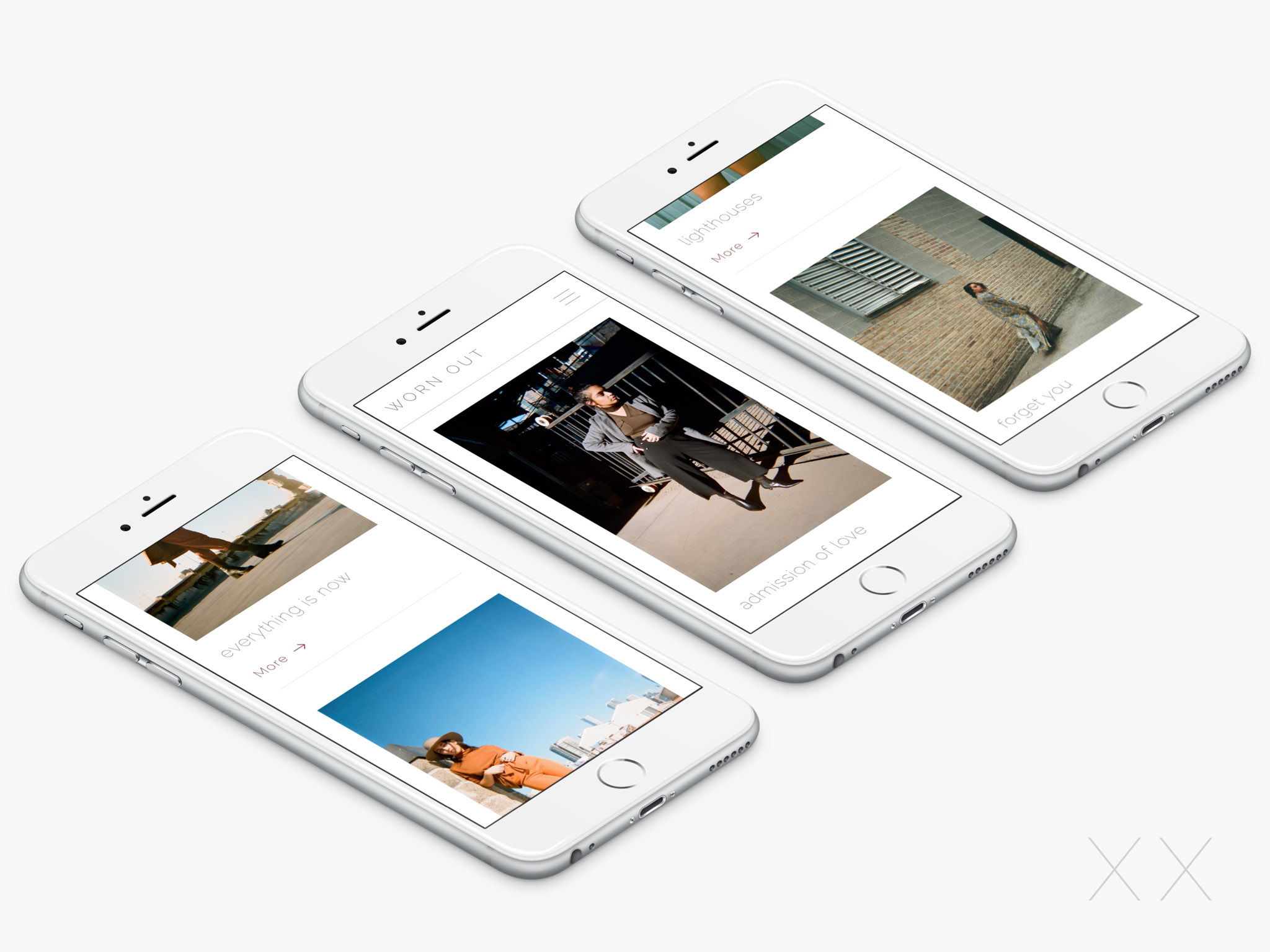- This is a mockup of a series of iPhones scrolling through the blog archive pages.