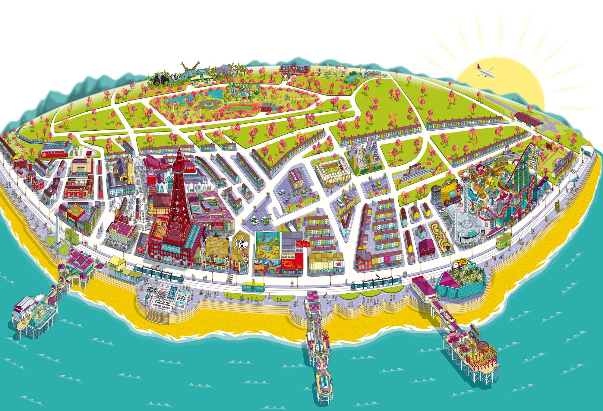 Resort Map Illustration for Visit Blackpool on Behance
