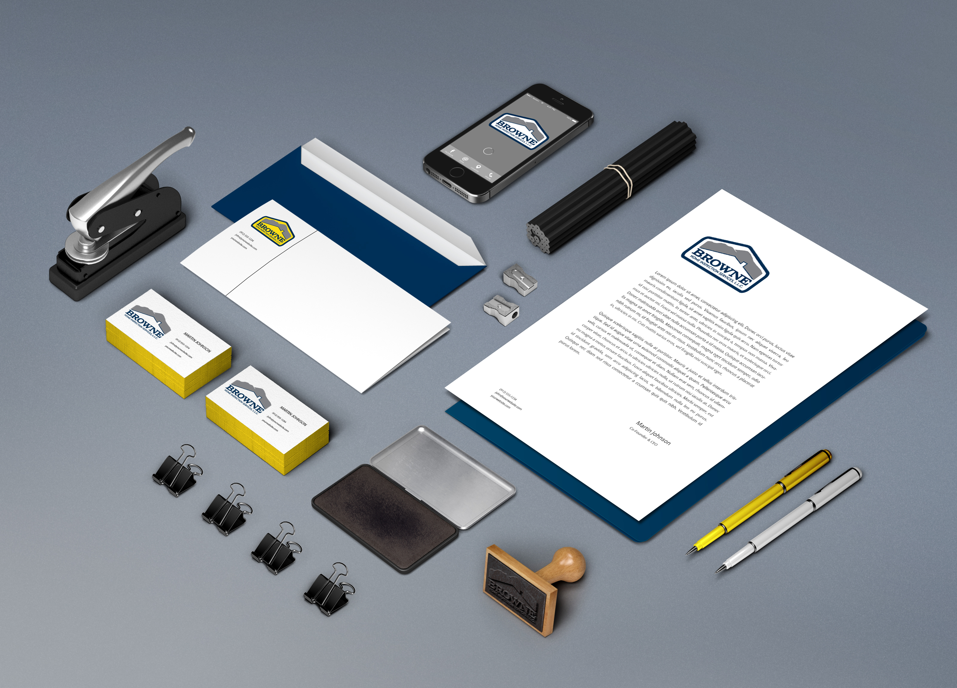 creative rust design branding design for browne home inspection services