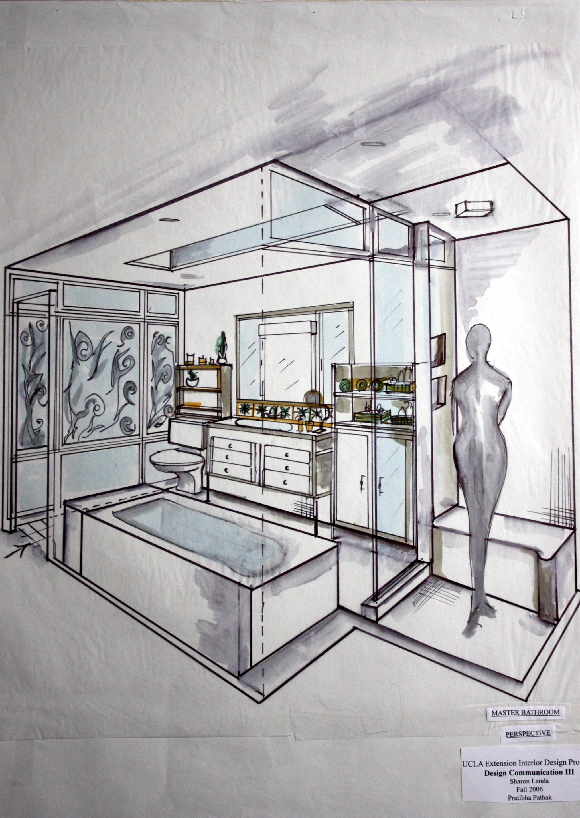 Interior Design Projects Hand Drafting, Rendering, Perspective Drawing.