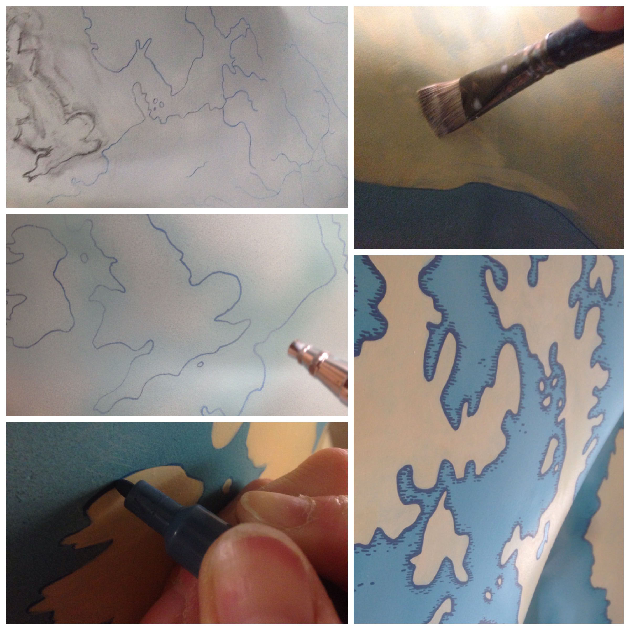 Process photos of illustrated map being painted by Fiona Gowen onto Norwich 2015 GoGoDragons sculpture