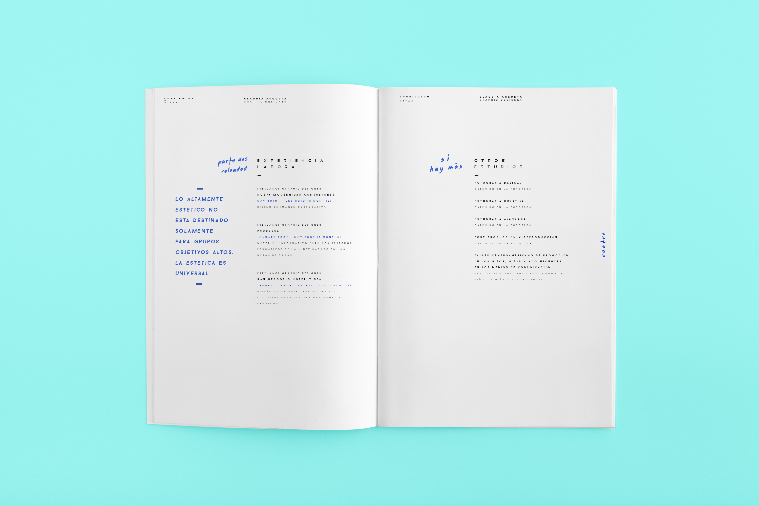 Curriculum Vitae Claudia Argueta On Behance