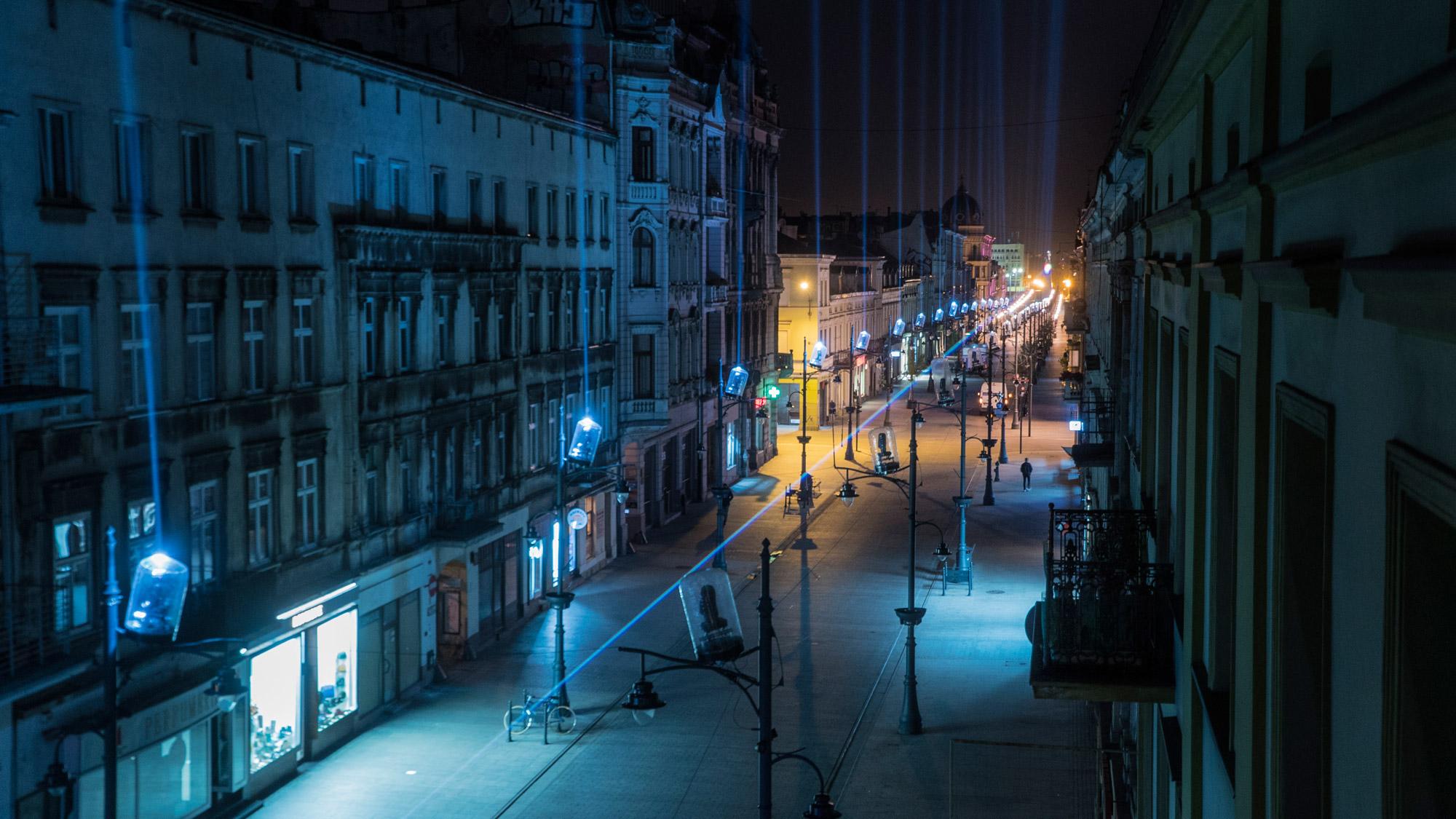Light Installation & Street Art in Łódź, Poland