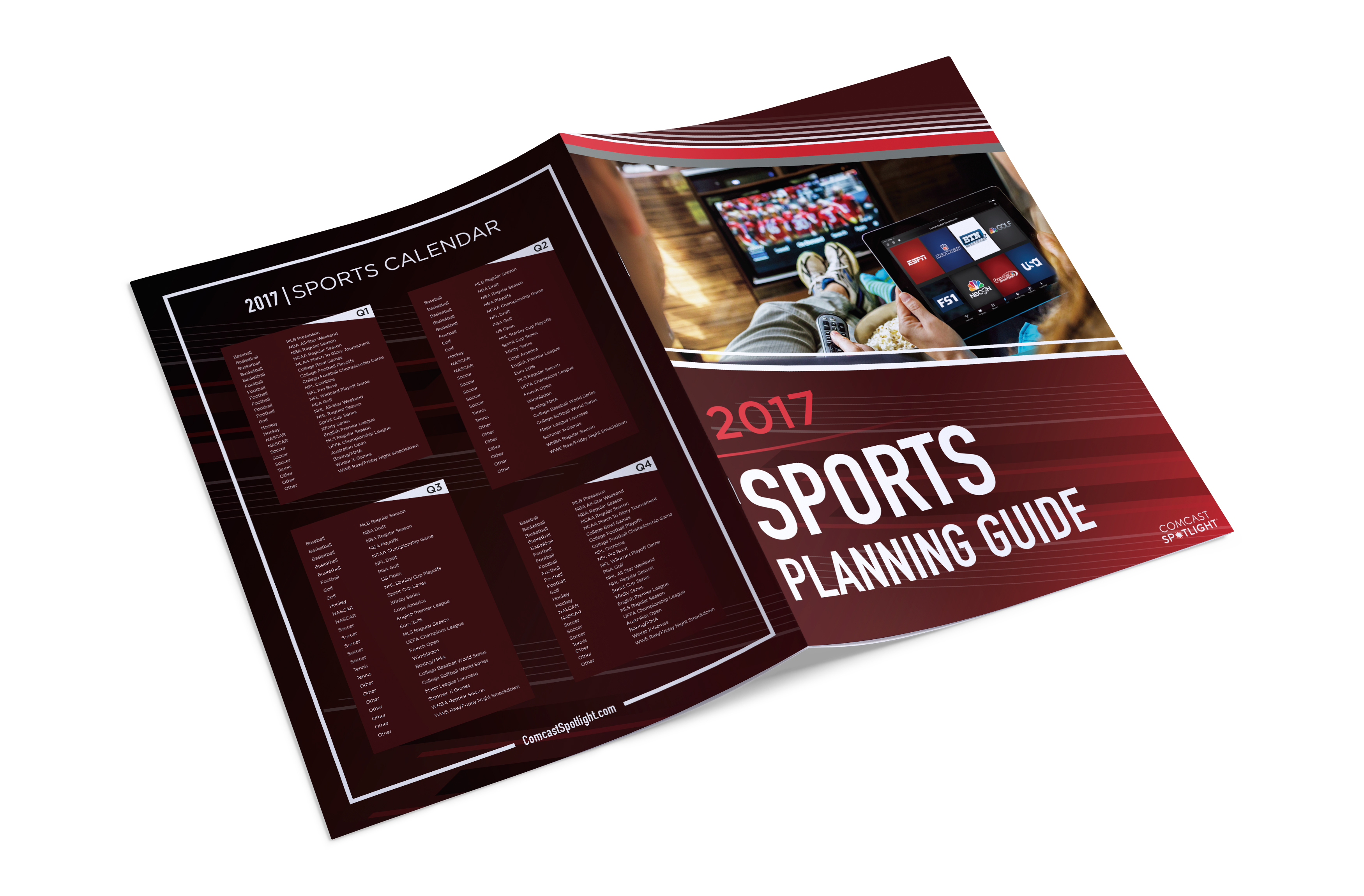 Comcast Spotlight Sports Planning Guide On Behance Basketball Football Golf Soccer Tennis