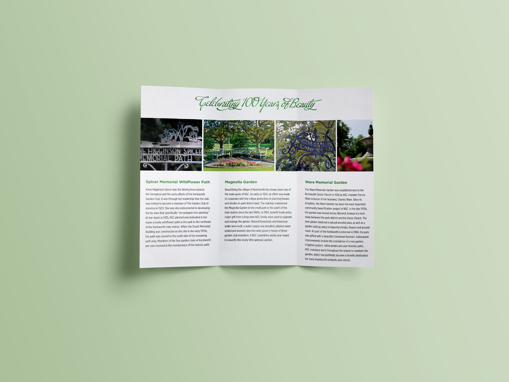 Brochure to promote the Kenilworth Garden Club. Bostrom Design