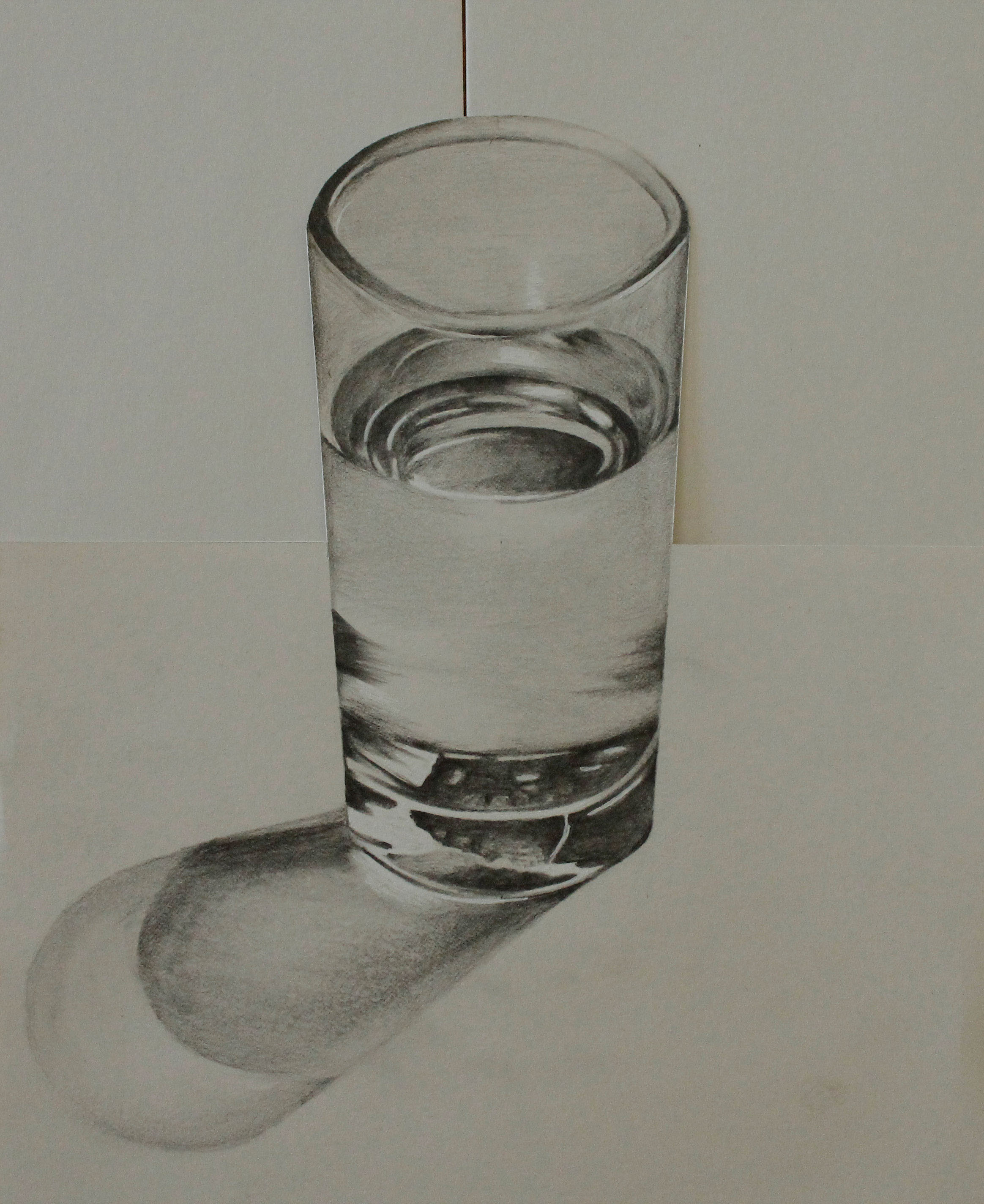 3d sketch of a glass using pencil on paper