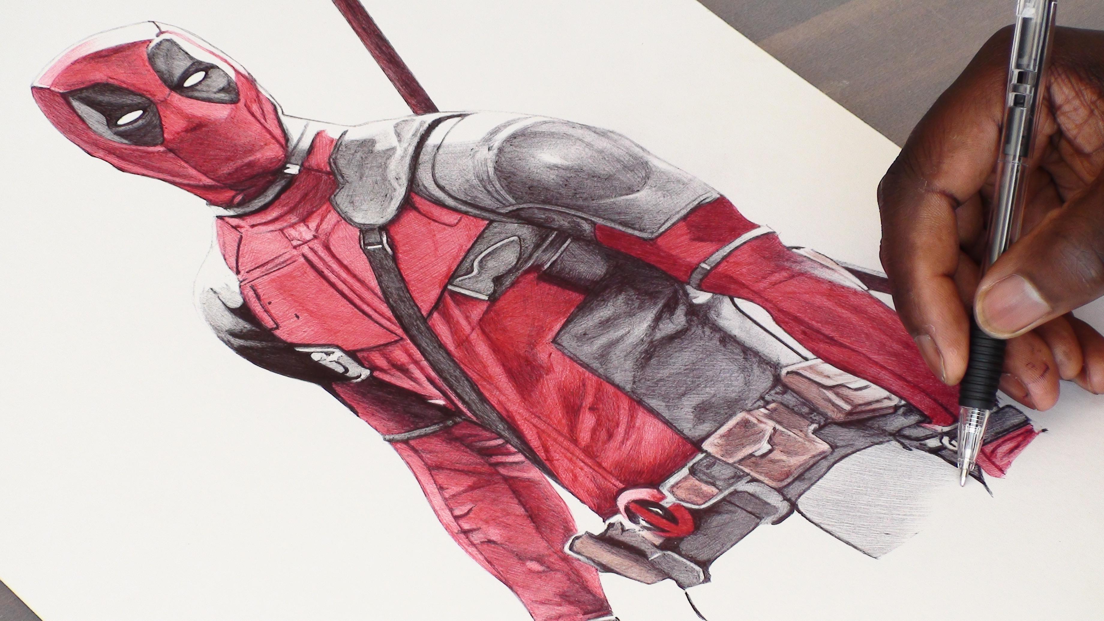 Deadpool Ballpoint Pen Drawing On Behance