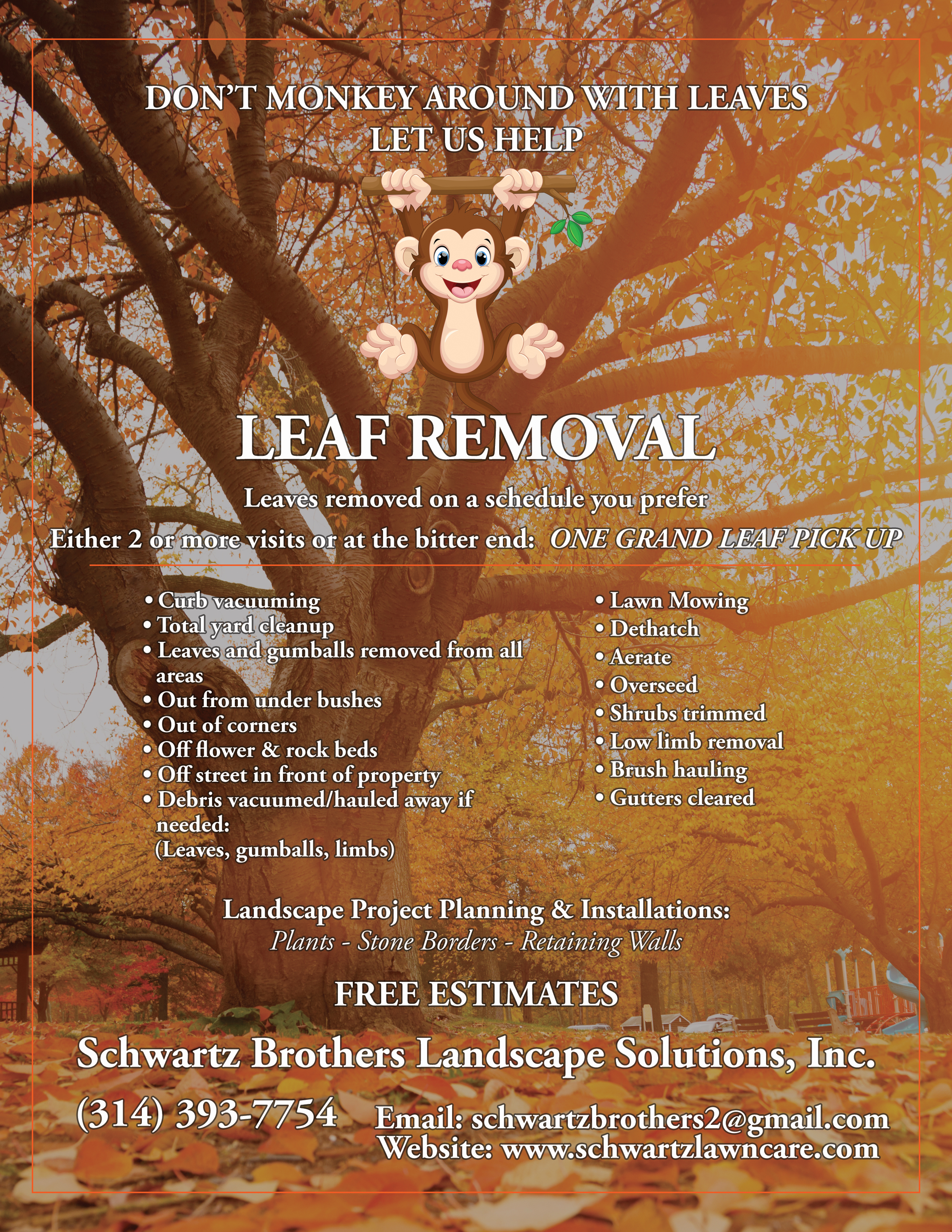 a flyer created for a business to help promote leaf pick up in the fall season