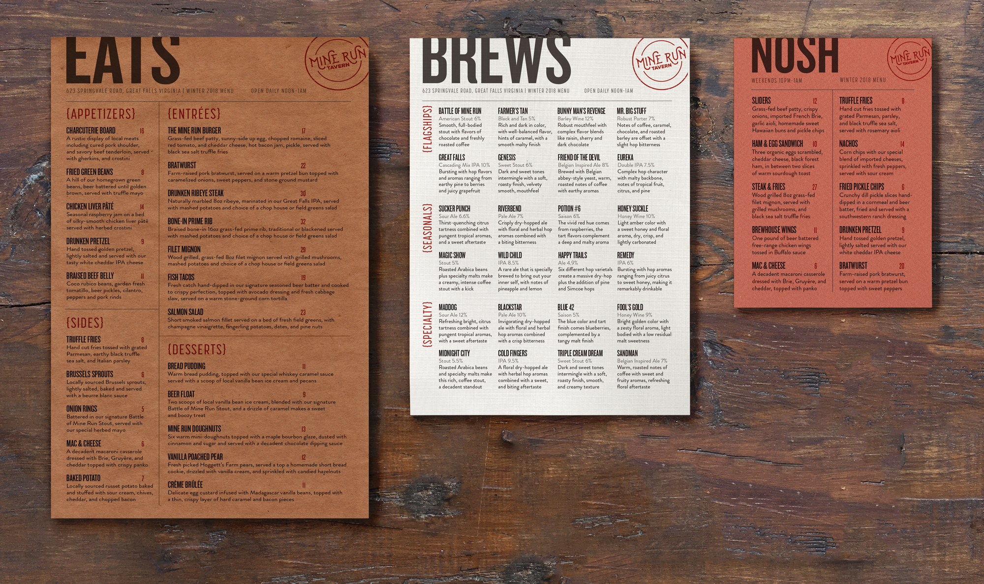 Mine Run Tavern Menus on Behance