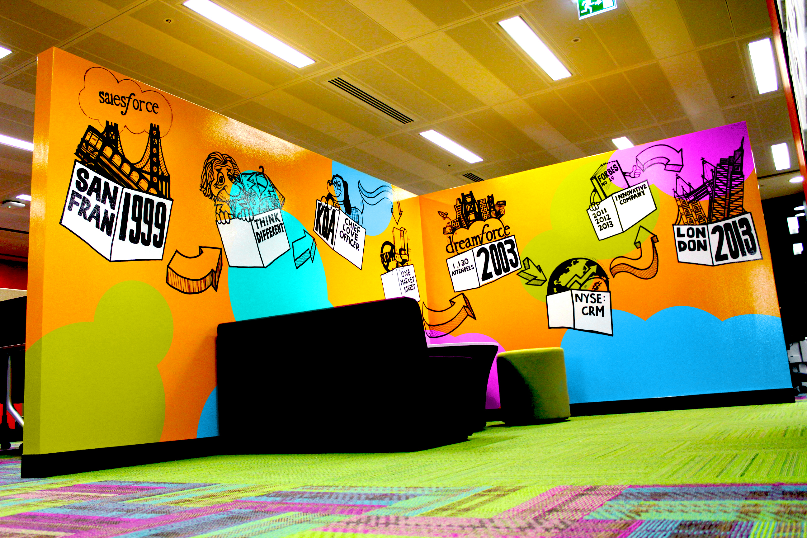 salesforce london office feature wall on behance
