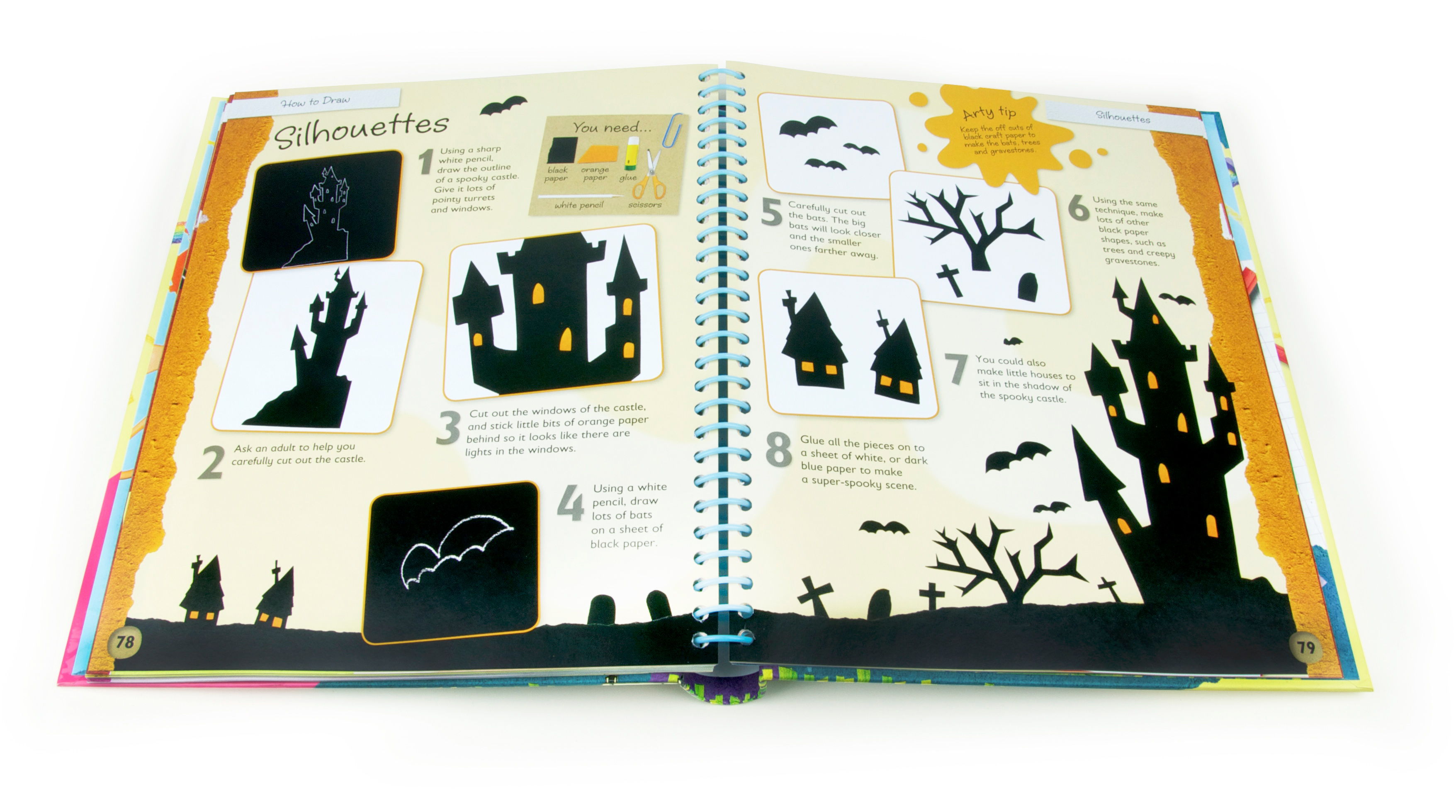 Interior spread from Childrens craft book How to draw, published by igloo books and illustrated by Fiona Gowen. This page features a black silhouette castle and bats