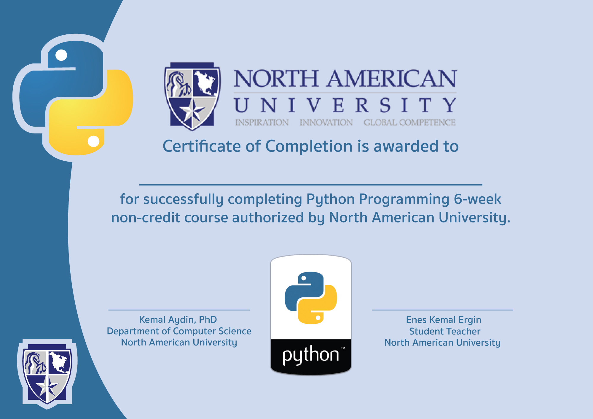 Mustafa bedir tapkan python certificate the certificate that i made for north american university computer science department python course for students 1betcityfo Images