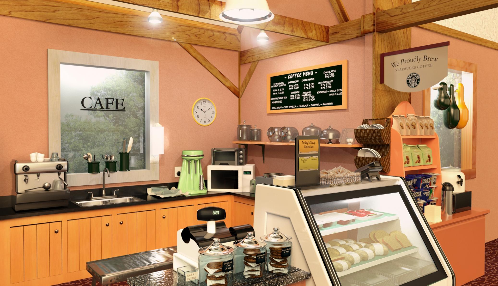 3D Starbucks Coffee Shop Interior on Behance