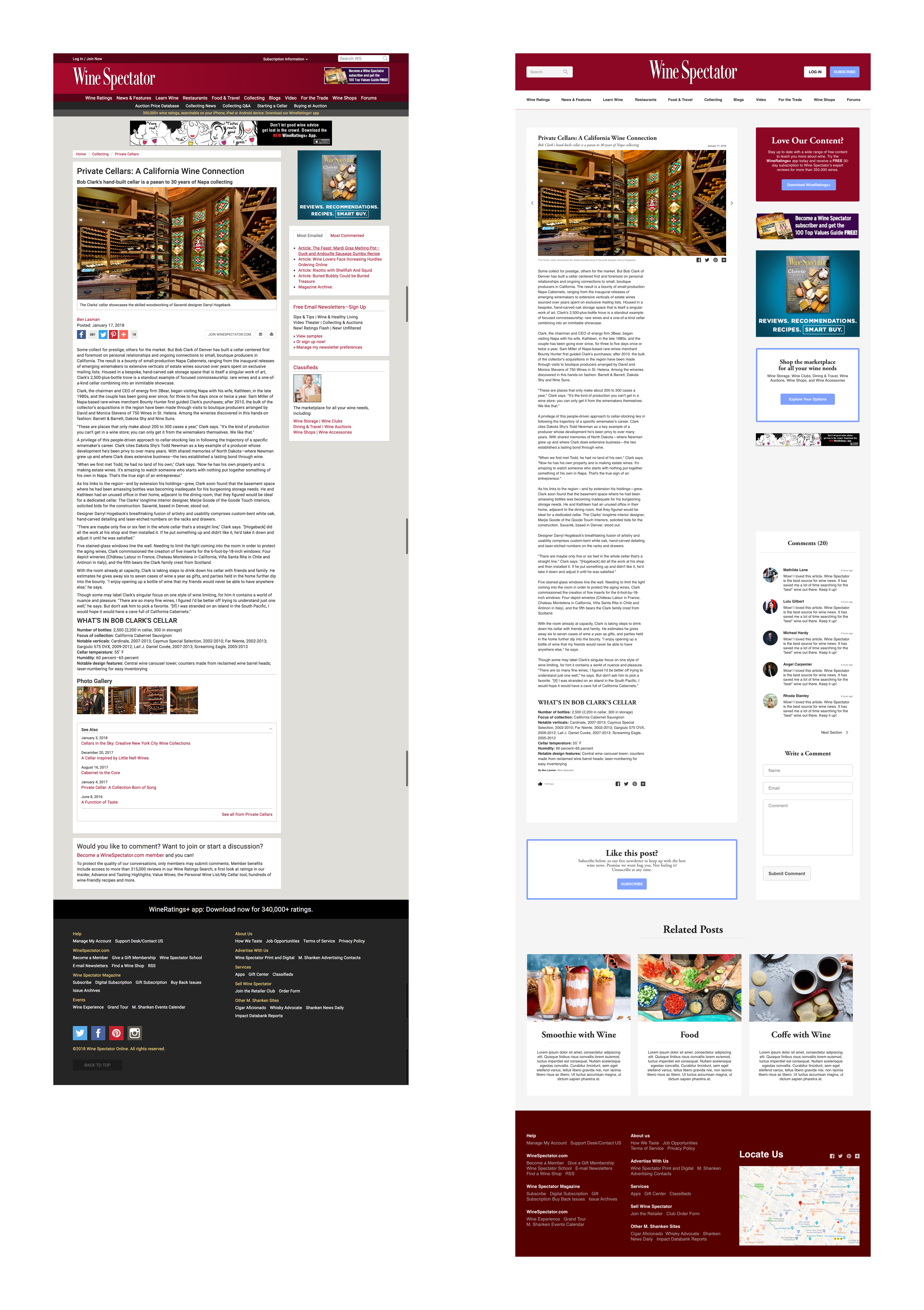 Wine Spectator Blog Post Redesign on Behance