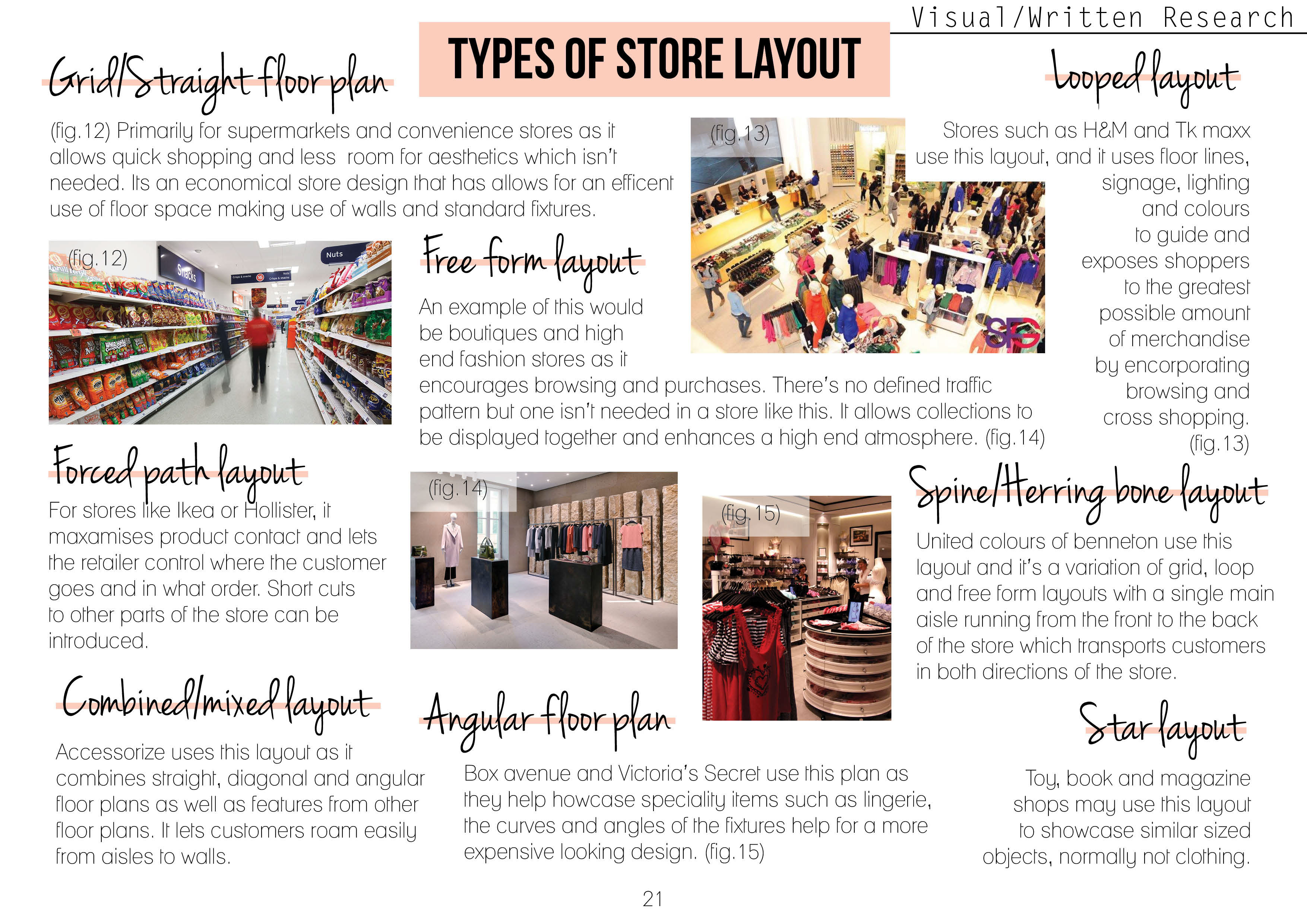 store design and visual merchandising on customer purchase Store layout, design, and visual merchandising that loops around the store to guide customer traffic around in the store where customers purchase.