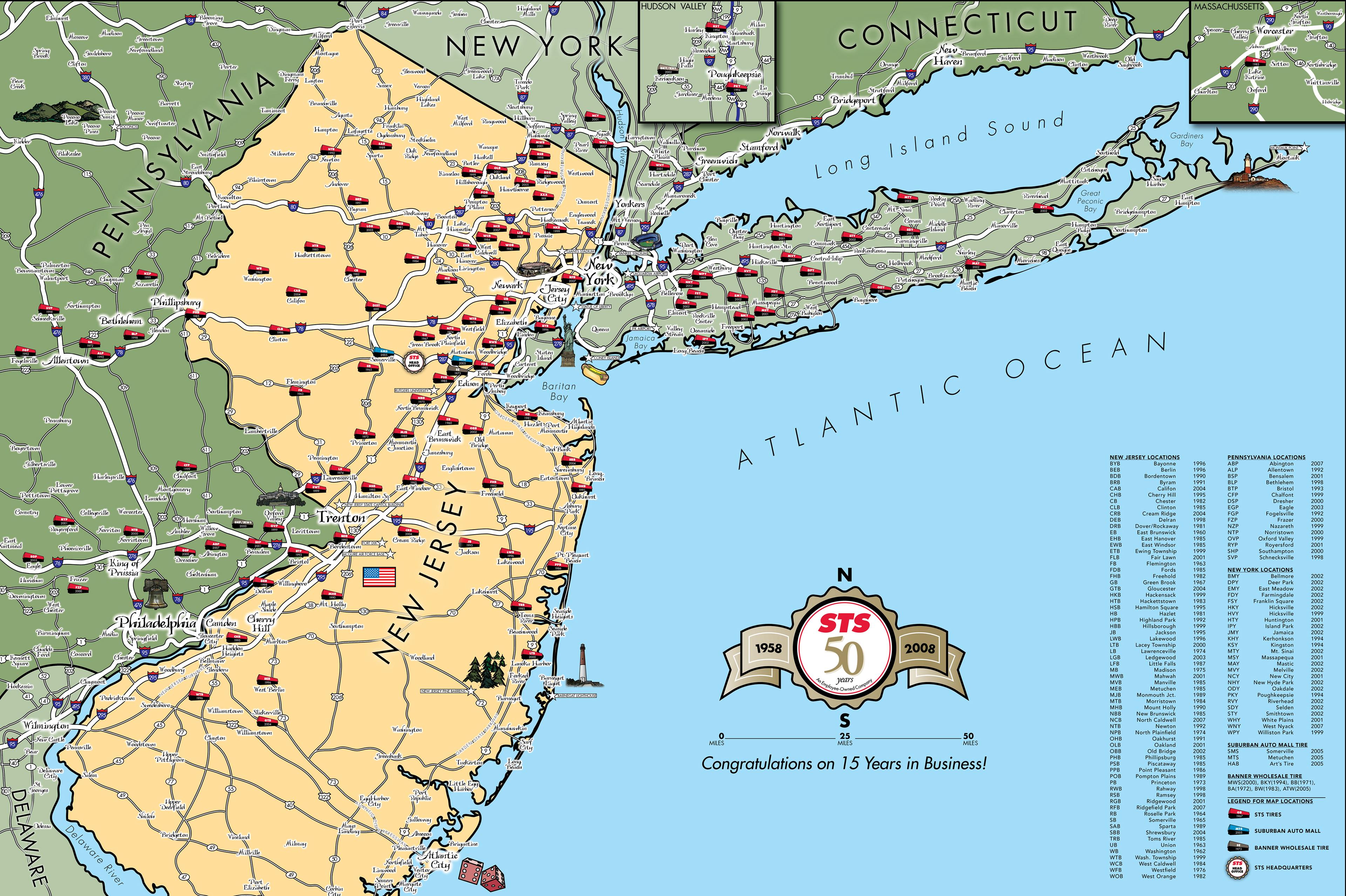 Eric Olason Mapmaker Cartographic Artist – Map of Greater New York City Area