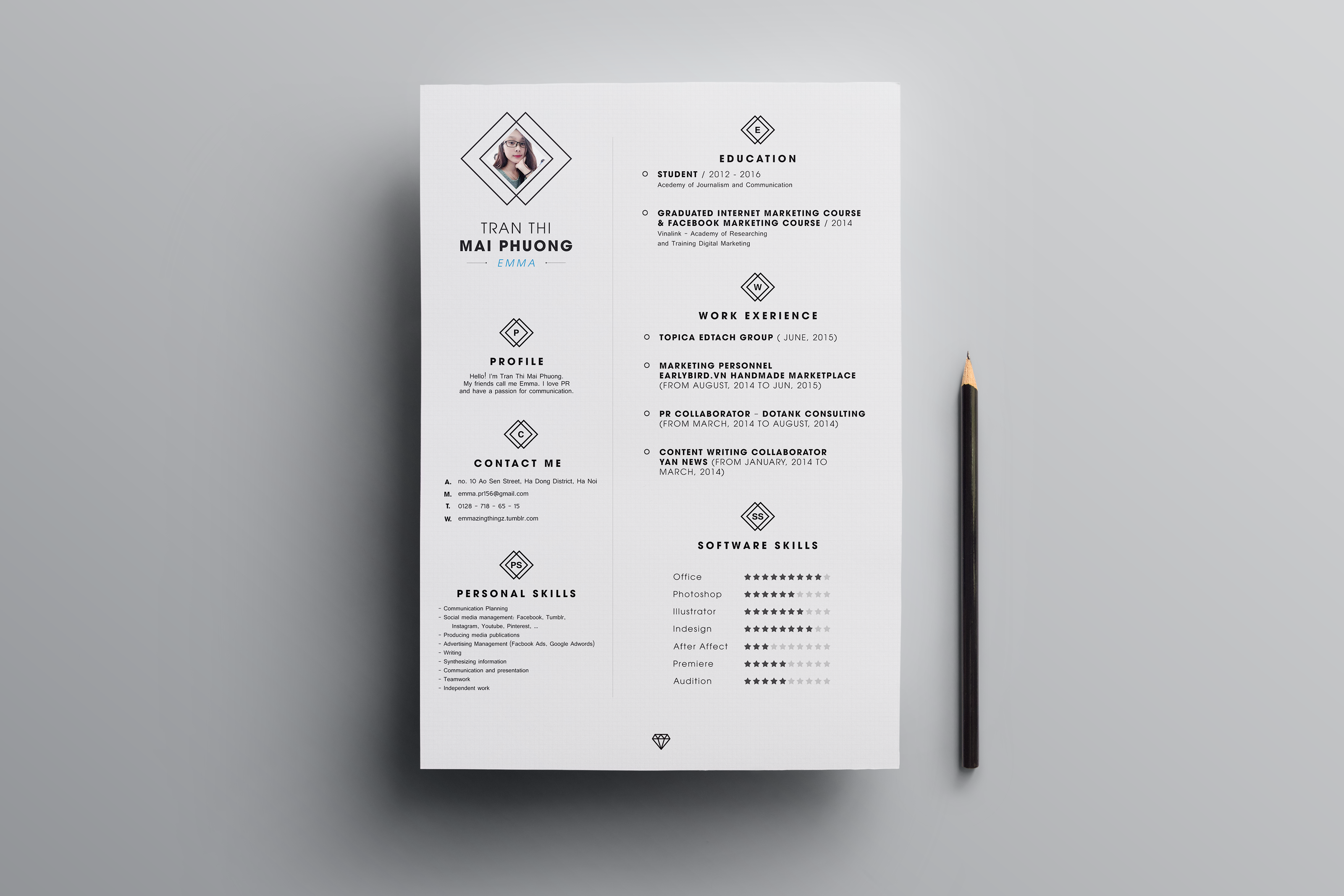 FREE Resume Template on Behance Outstanding Photoshop