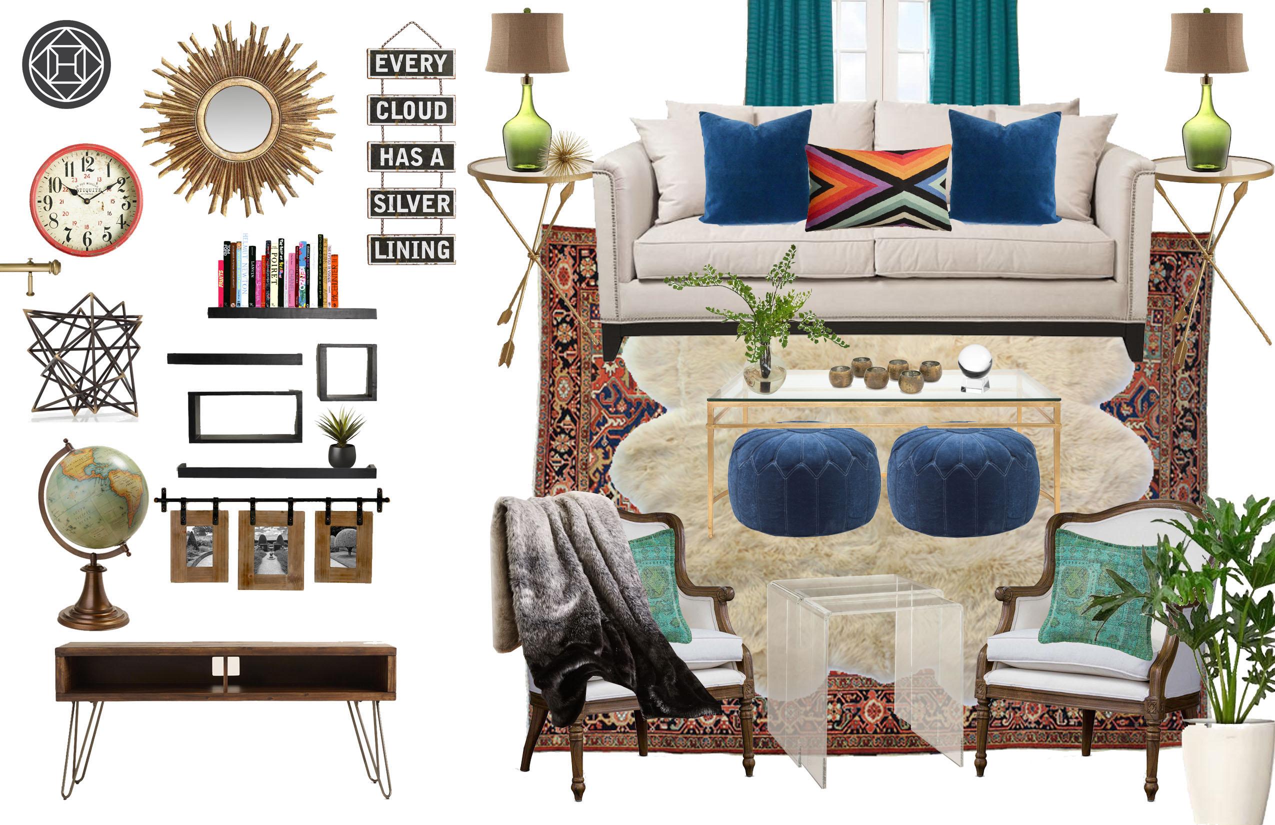 Casey Hardin - Eclectic Glam Living Room