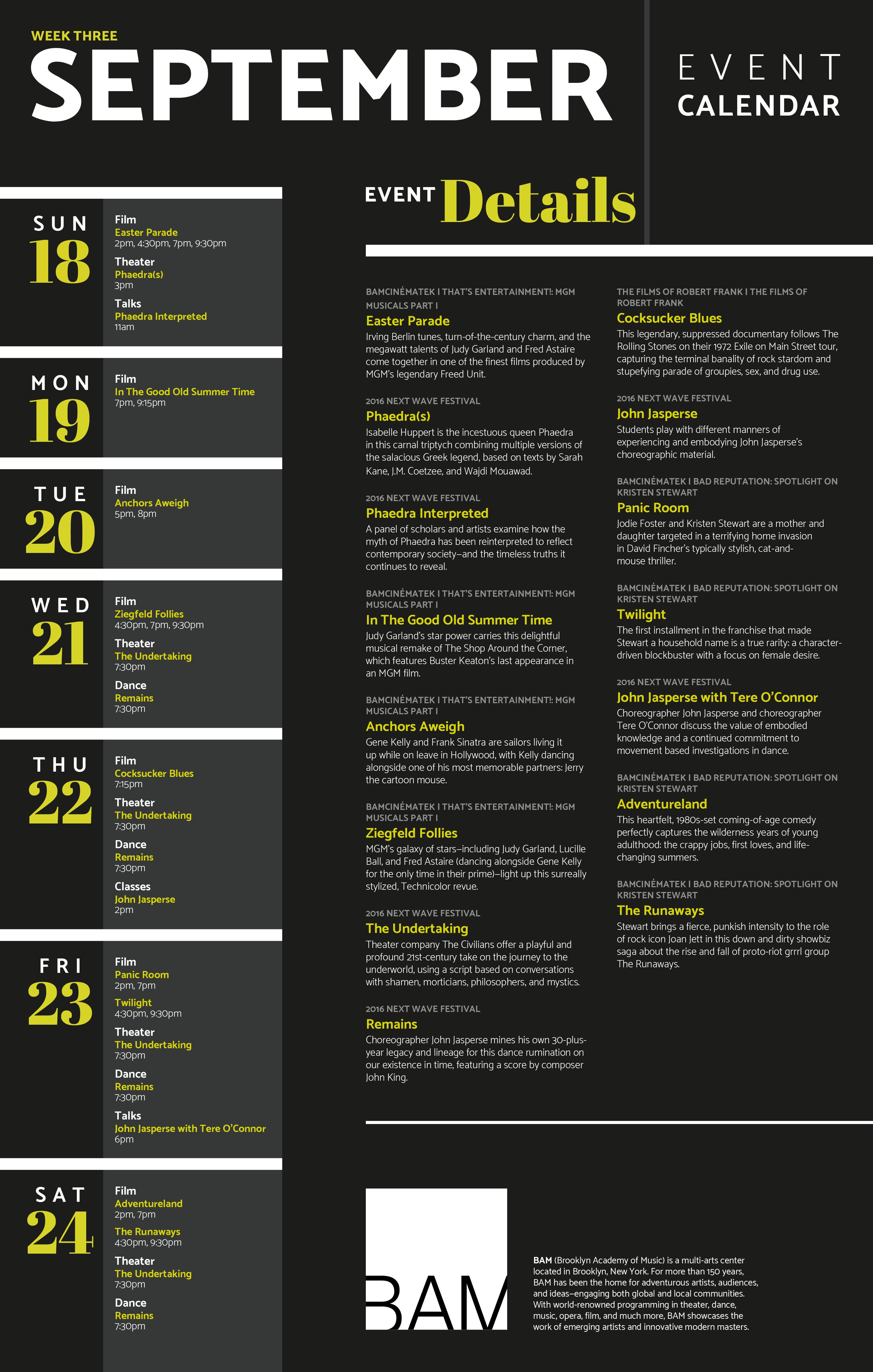Calendar Of Events Design : Lena kourgouzov bam event calendar poster