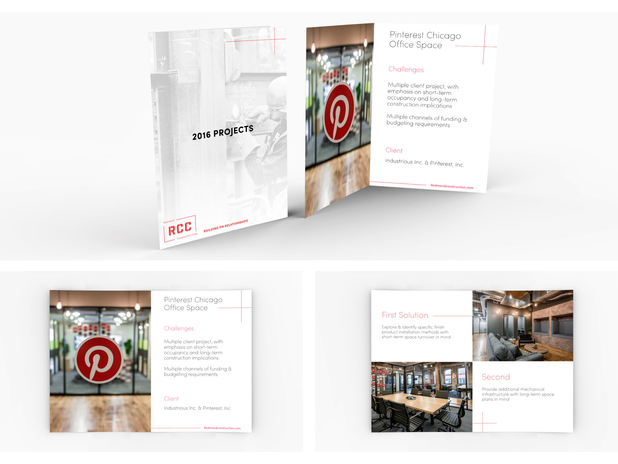 This image includes mockups of the brochure created for RCC's 2016 projects. The project featured is Pinterest Chicago office.