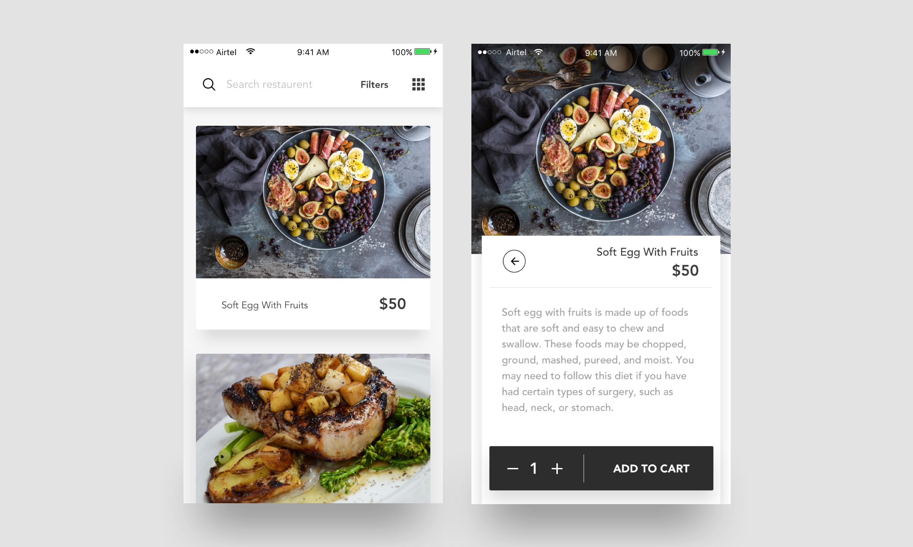 Food ios app sketch file premium download now on behance forumfinder Images
