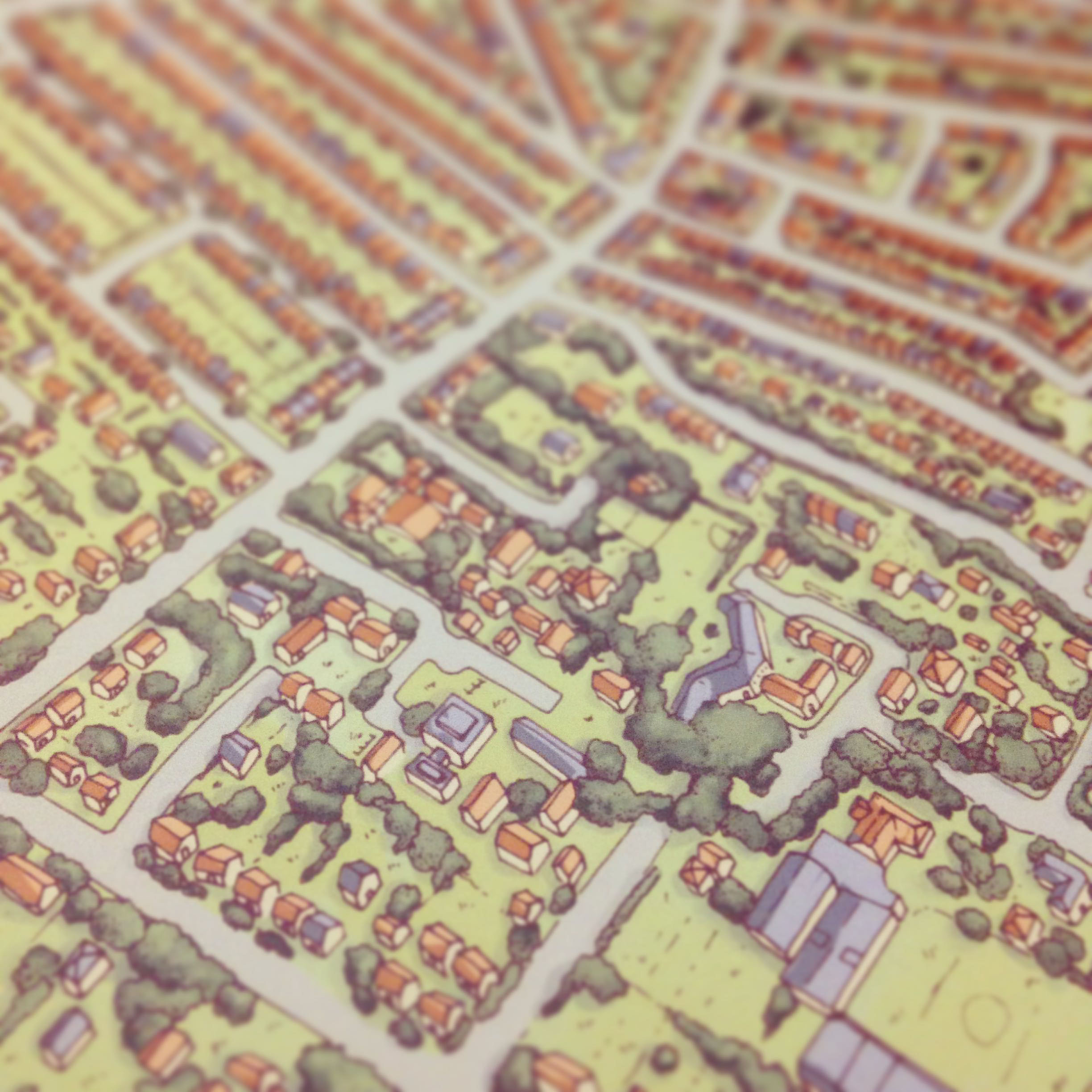 Close up of Golden Triangle Norwich map illustration by Fiona Gowen