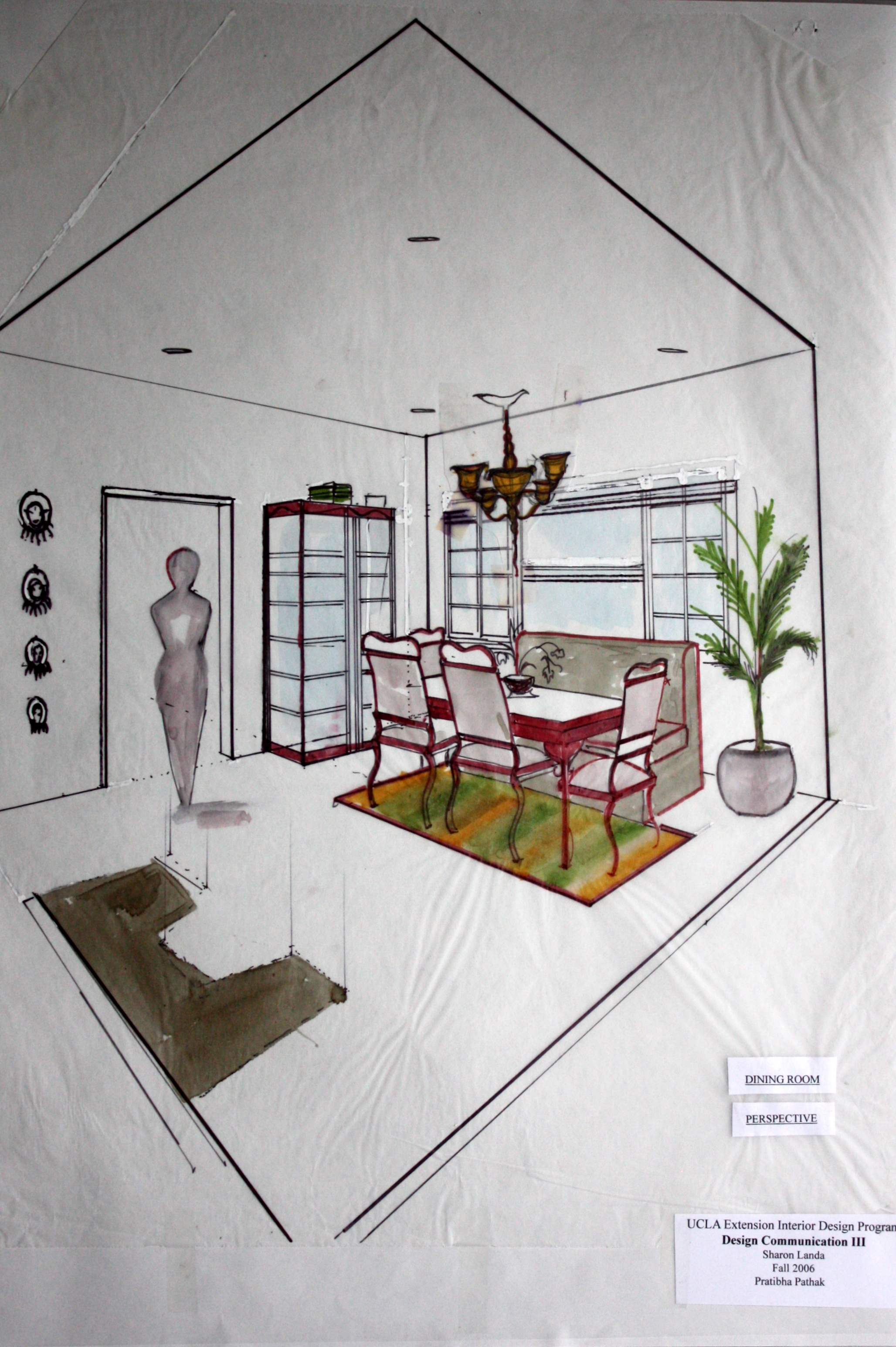 Superb Interior Design Projects Hand Drafting, Rendering, Perspective Drawing.