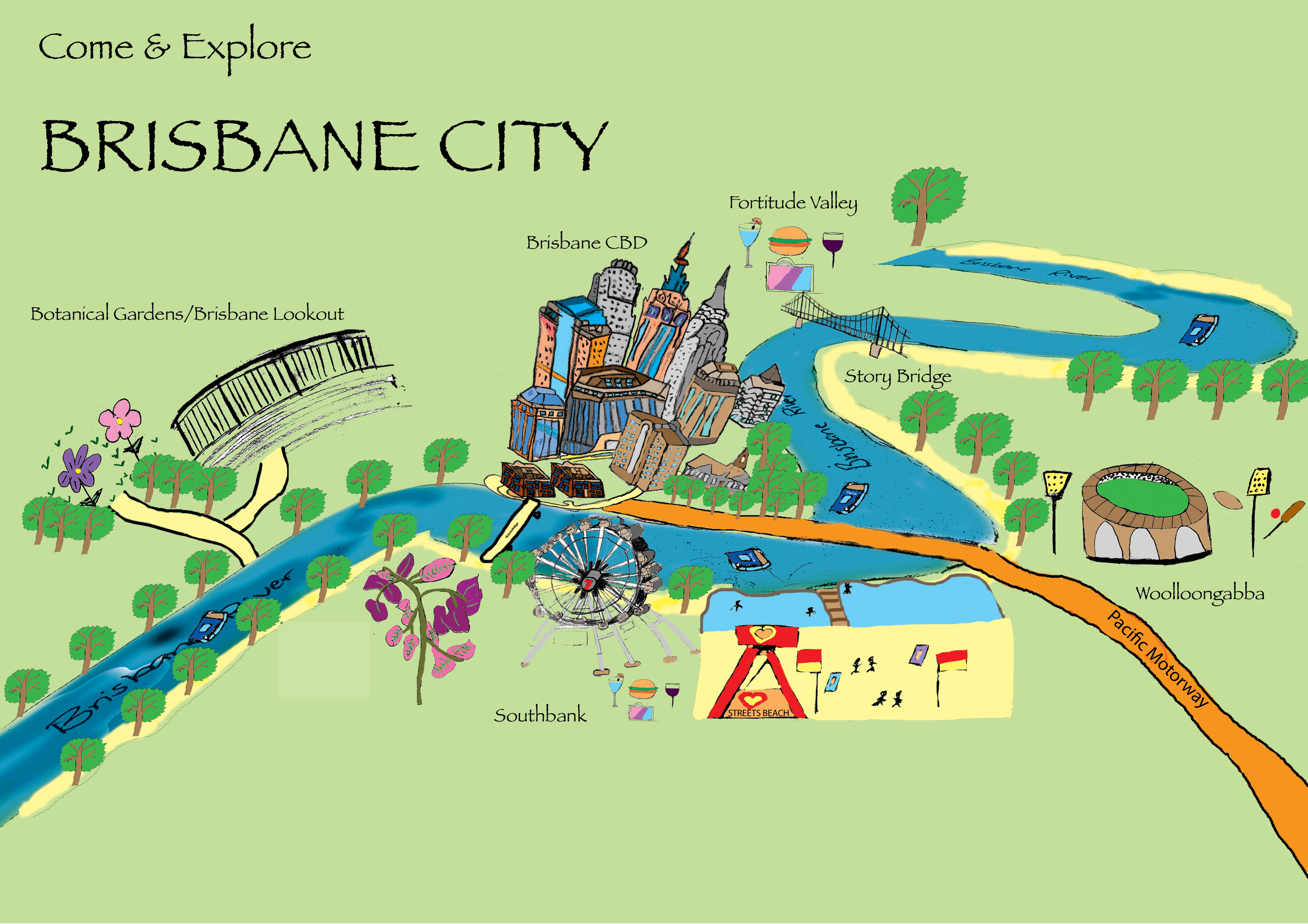 Rebecca Nelson Illustrated Map of Brisbane