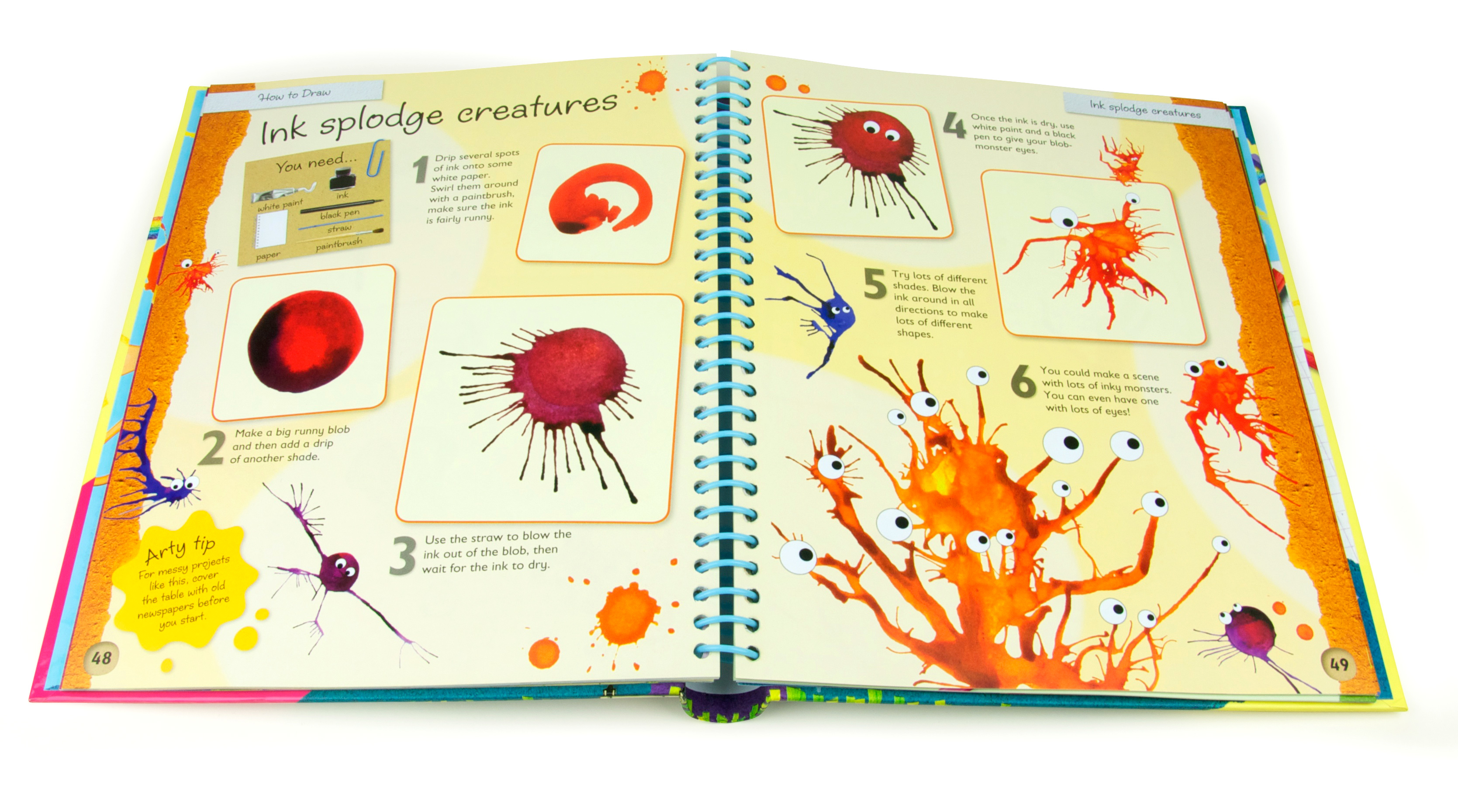 Interior spread from how to Draw, a kids art and craft book published by igloo books and Green Android publishing and designed and illustrated by fiona gowen. This page features ink splat monsters.