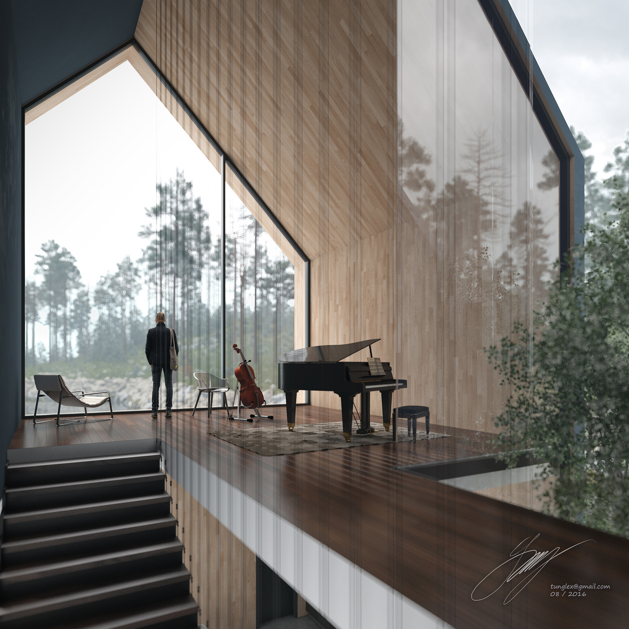 The foggy lake house\'s interiors on Behance